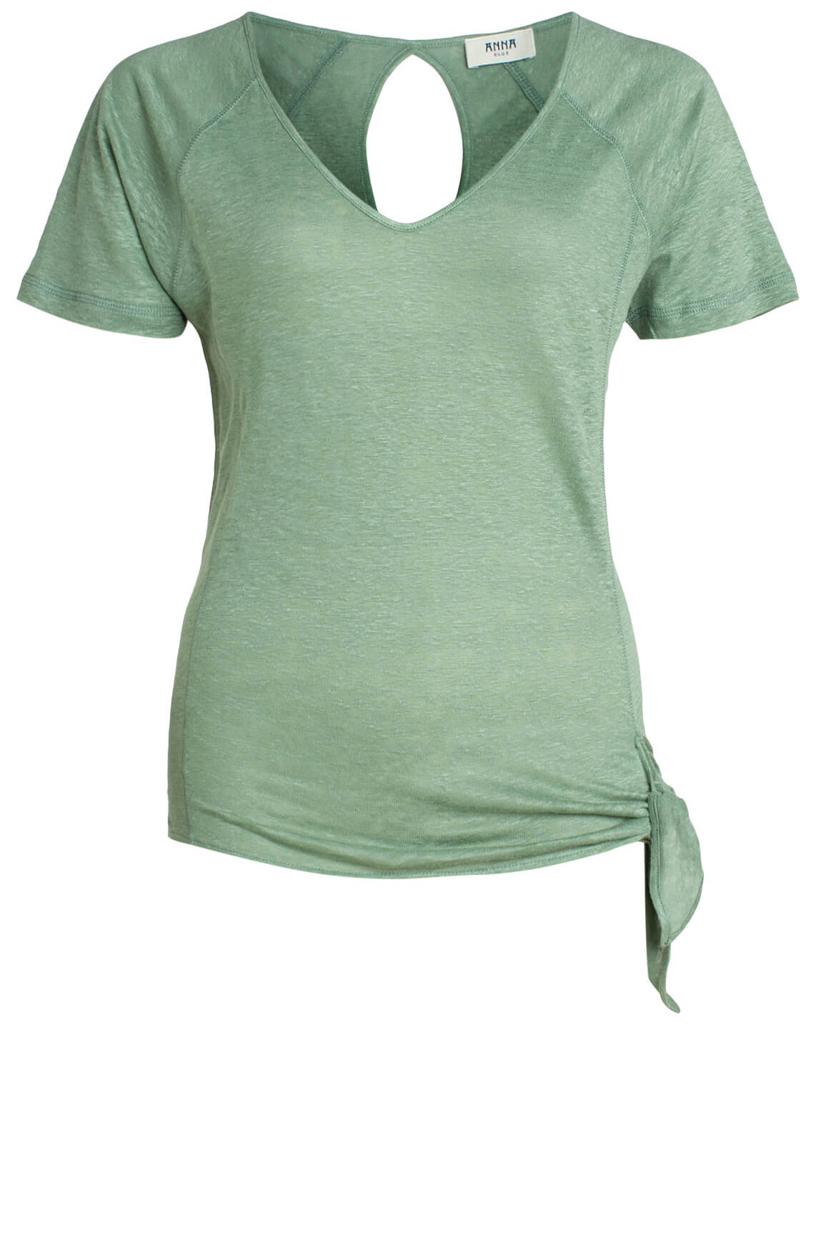 Anna Blue Dames Shirt met knoopdetail groen