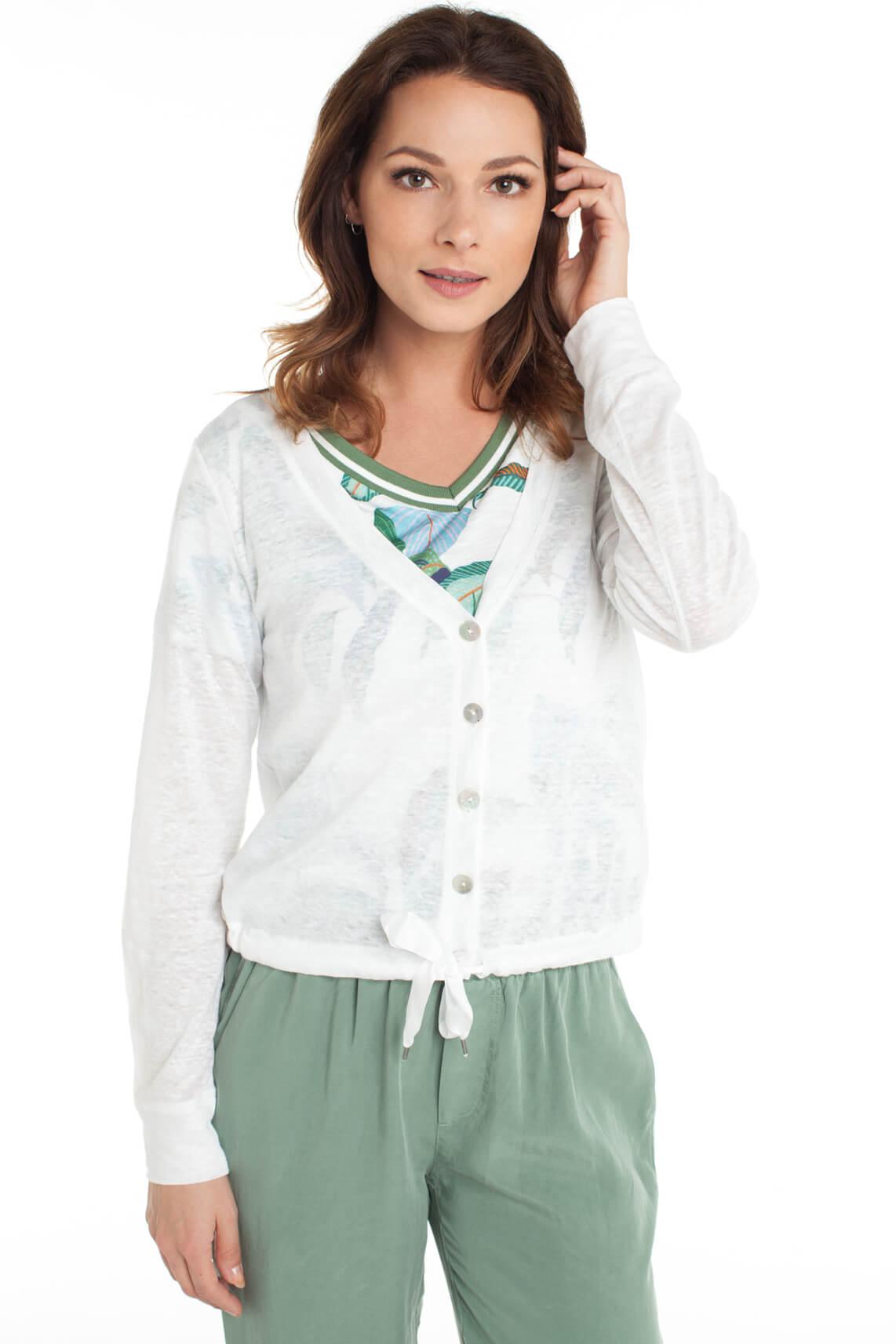 Anna Blue Dames Linnen vestje met knopen wit