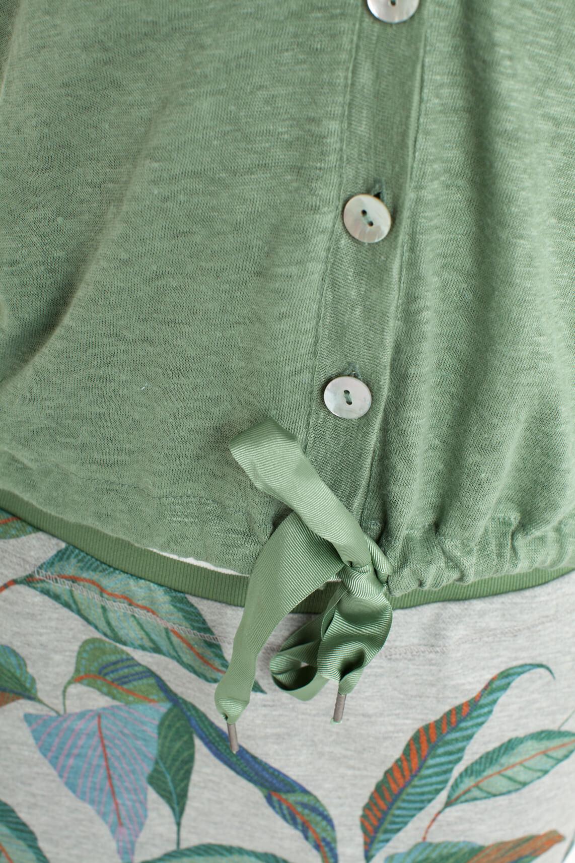 Anna Blue Dames Linnen vestje met knopen groen
