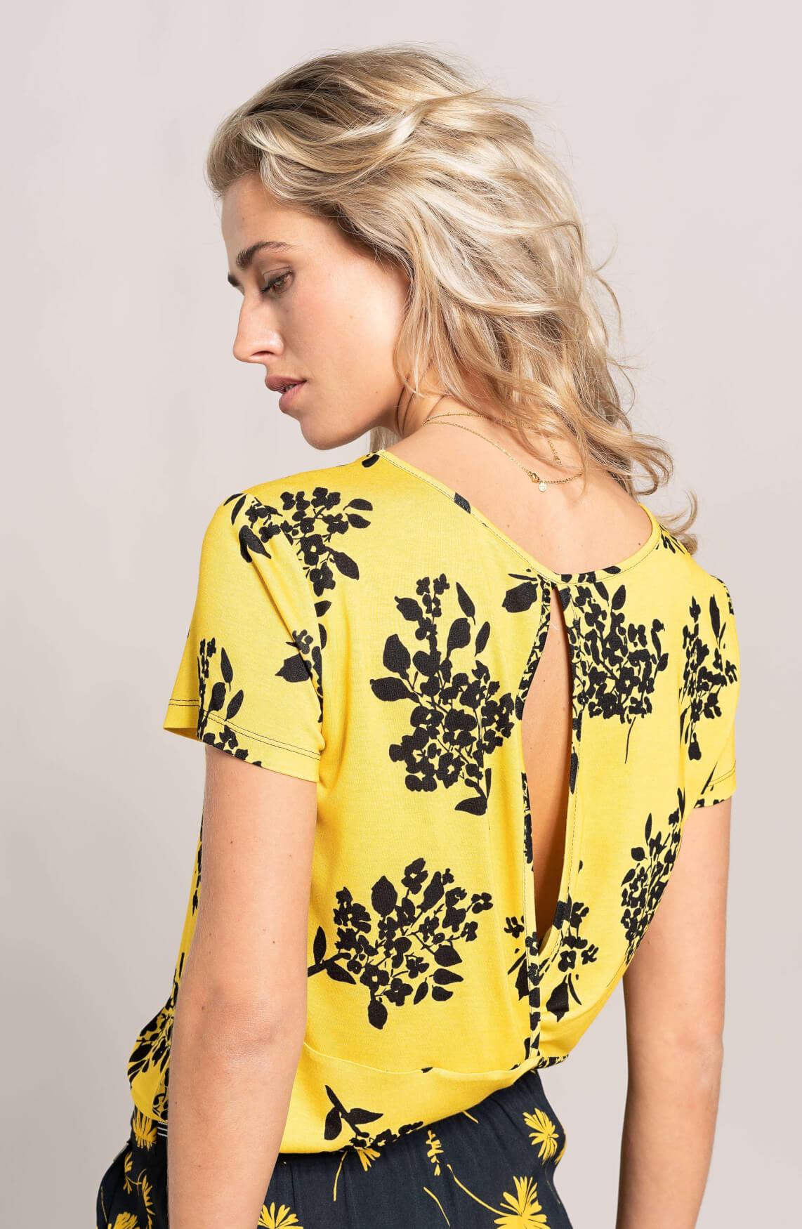 Anna Dames Shirt met floral print geel