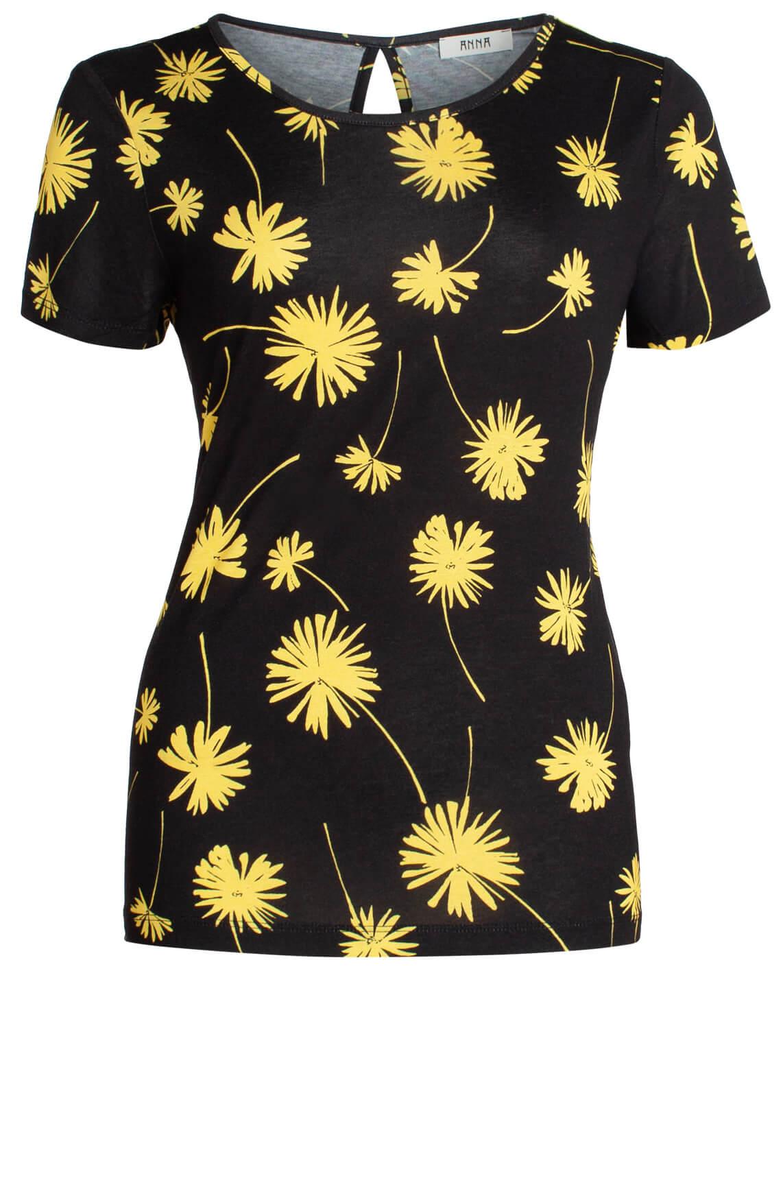 Anna Dames Shirt met floral print zwart