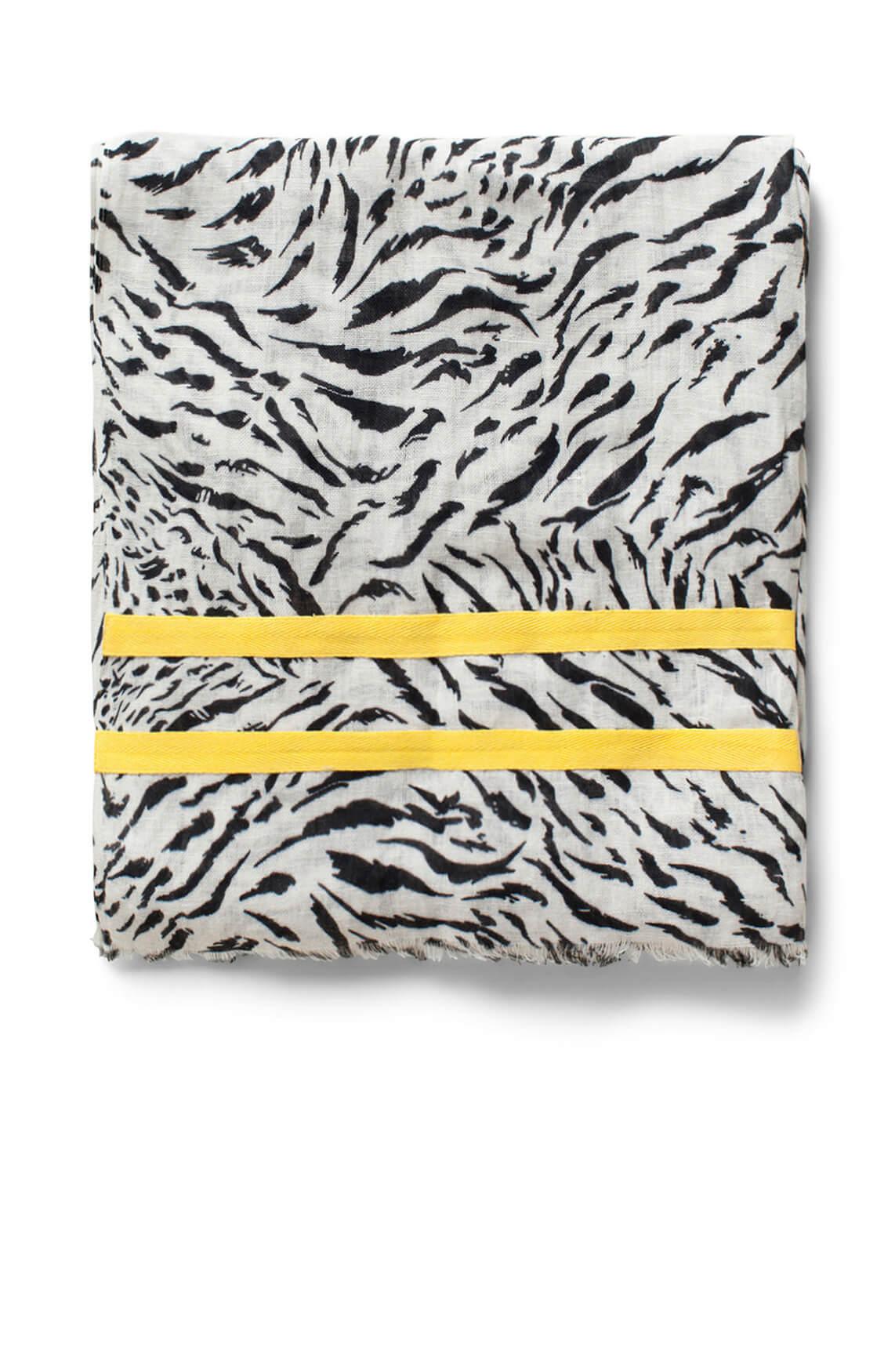 Anna Dames Shawl met zebraprint zwart