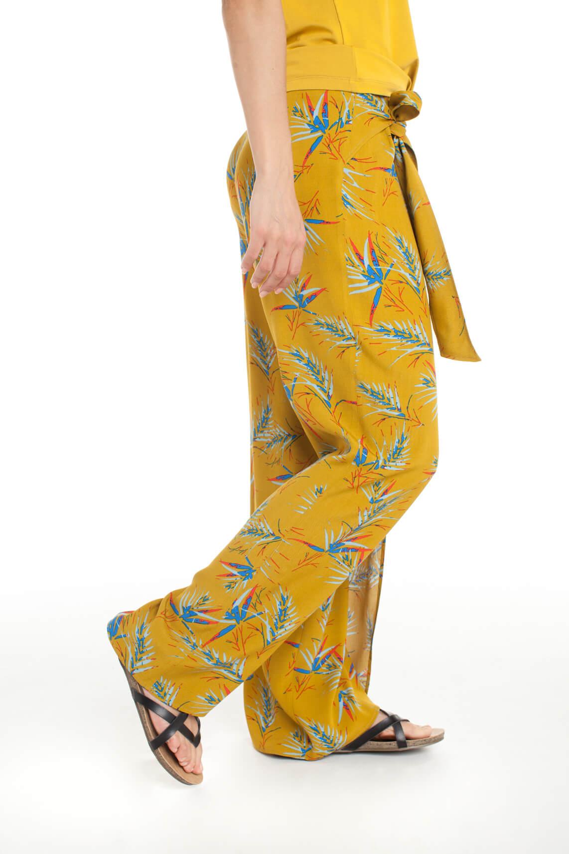 Anna Dames Broekrok met tropische print geel