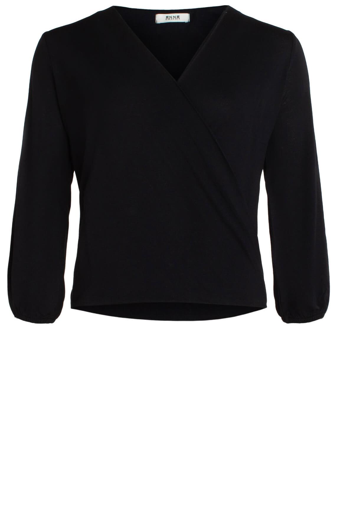Anna Dames Shirt met overslag zwart