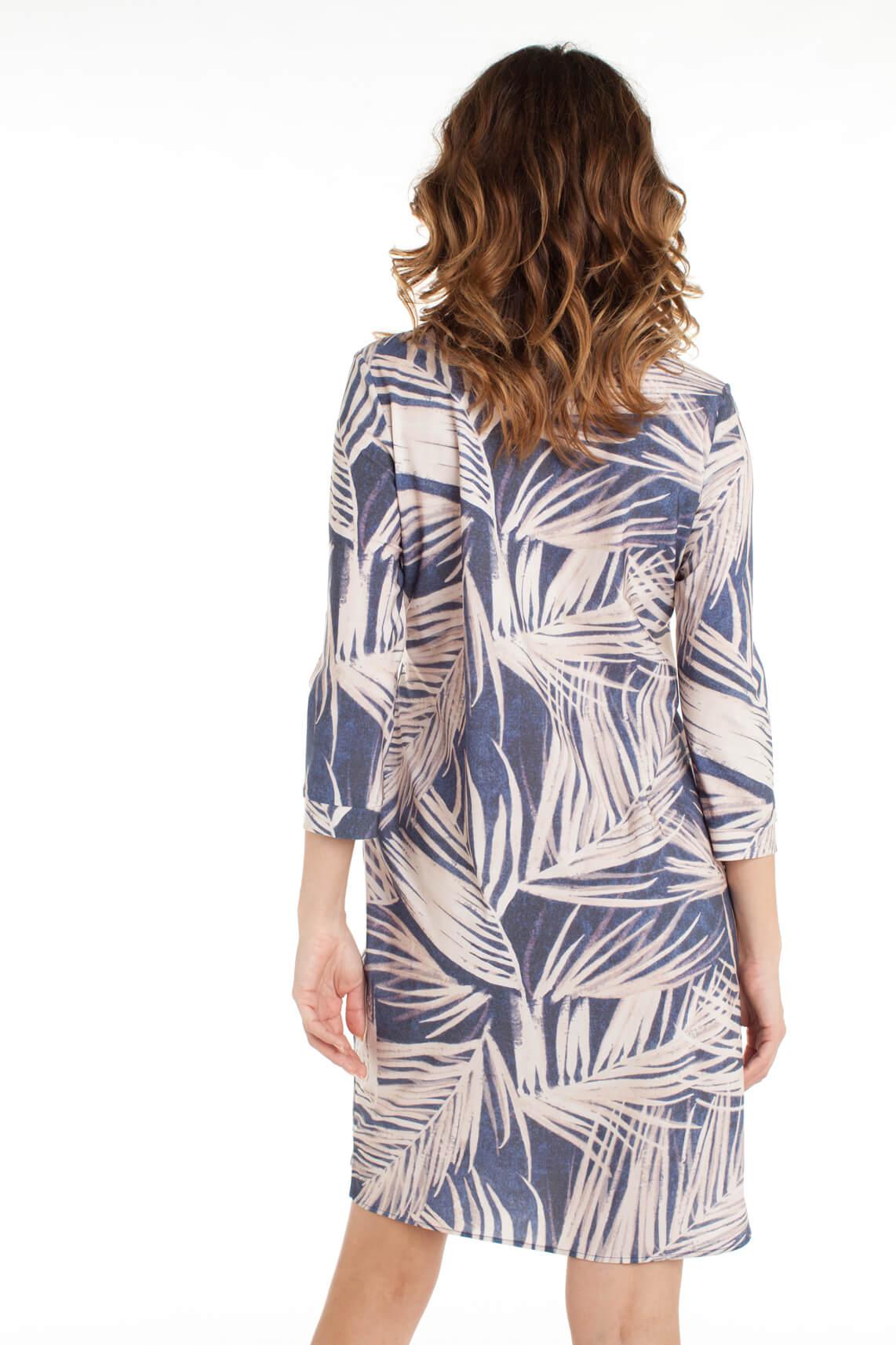 Anna Dames Jersey jurk met palmprint Blauw