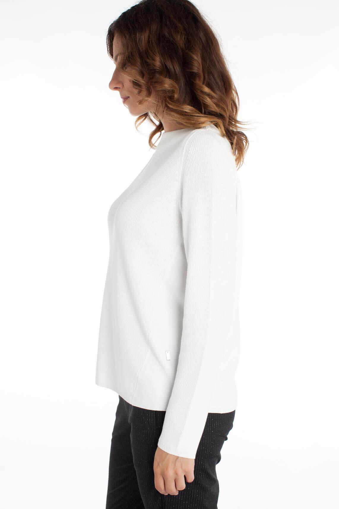 Anna Dames Ribgebreide pullover wit