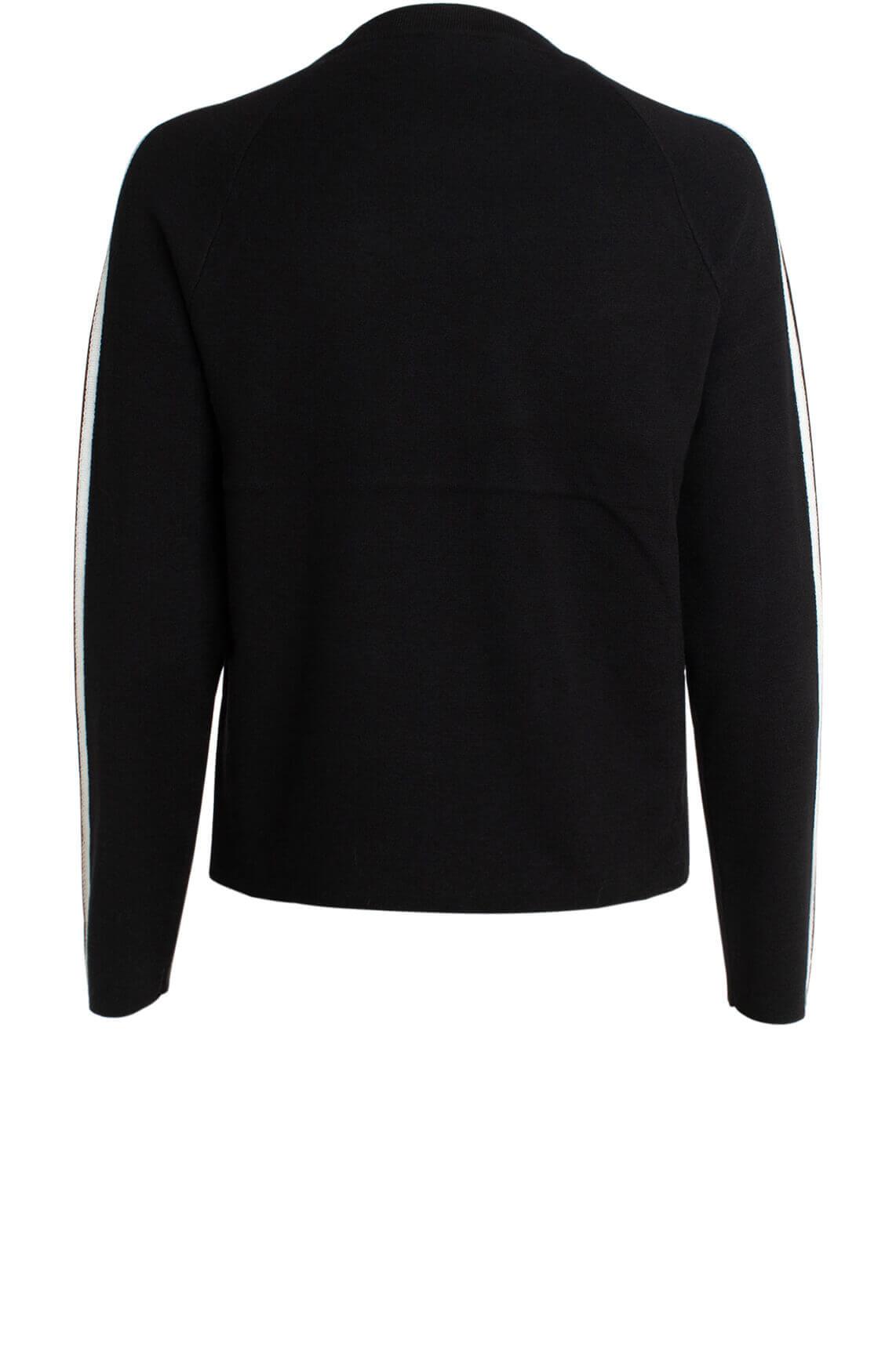 Anna Dames Sweater met witte bies zwart