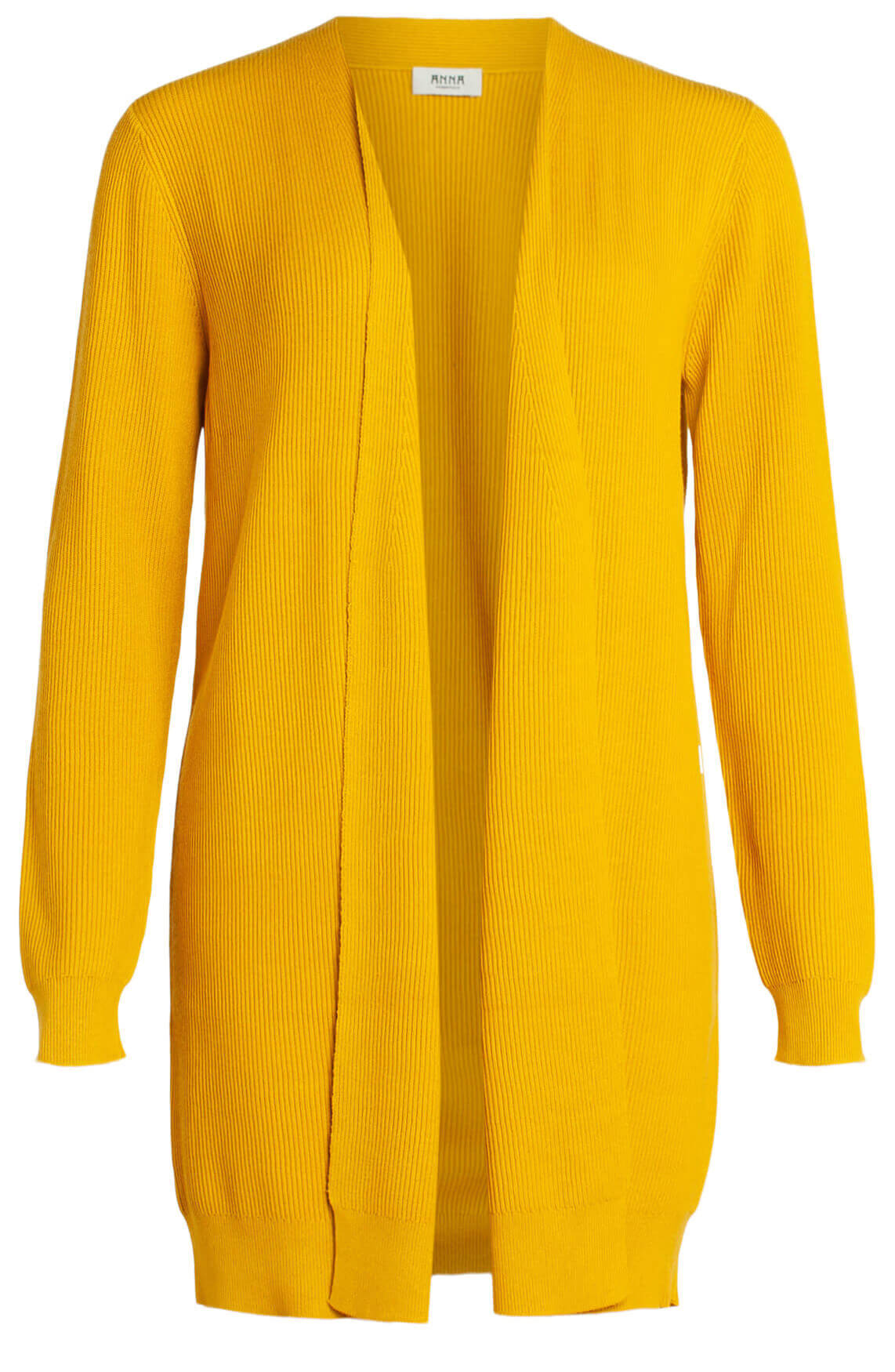 Anna Dames Ribgebreid vest geel