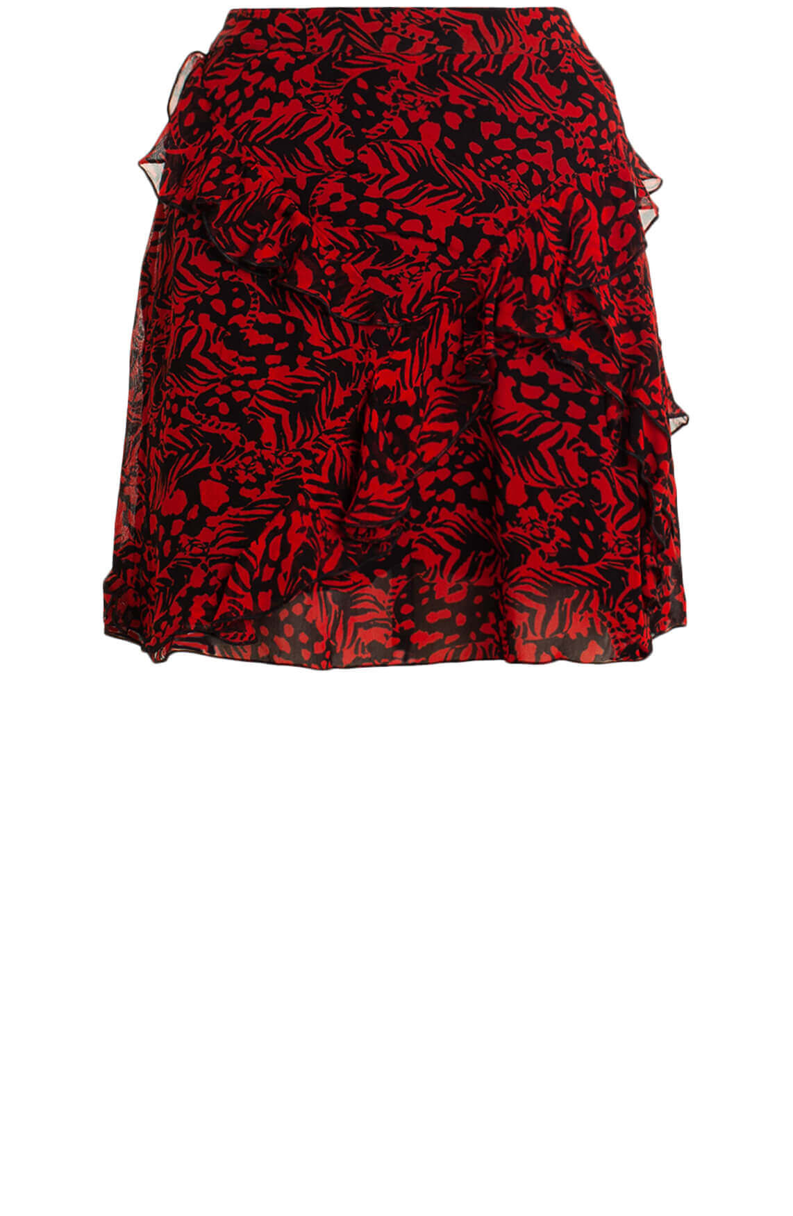 Alix The Label Dames Animalprint rok met ruffles Rood