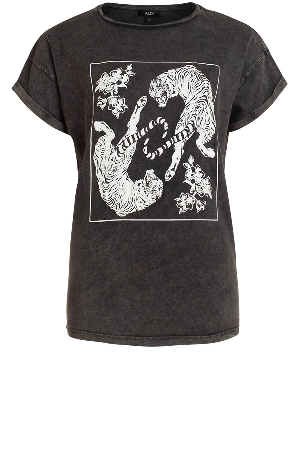 Alix The Label Dames Shirt met tijger artwork Grijs