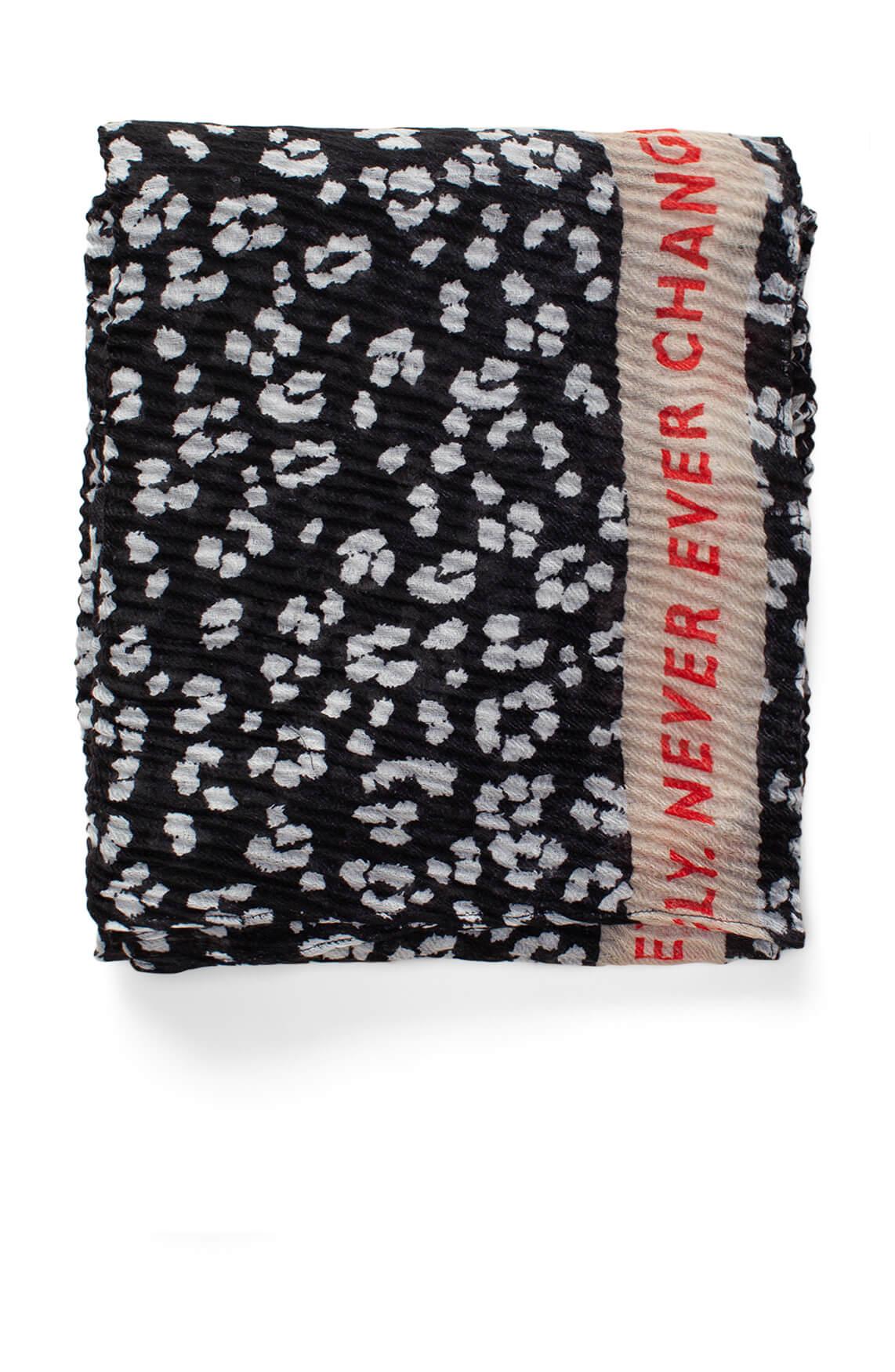 Codello Dames Plissé shawl met panterprint zwart