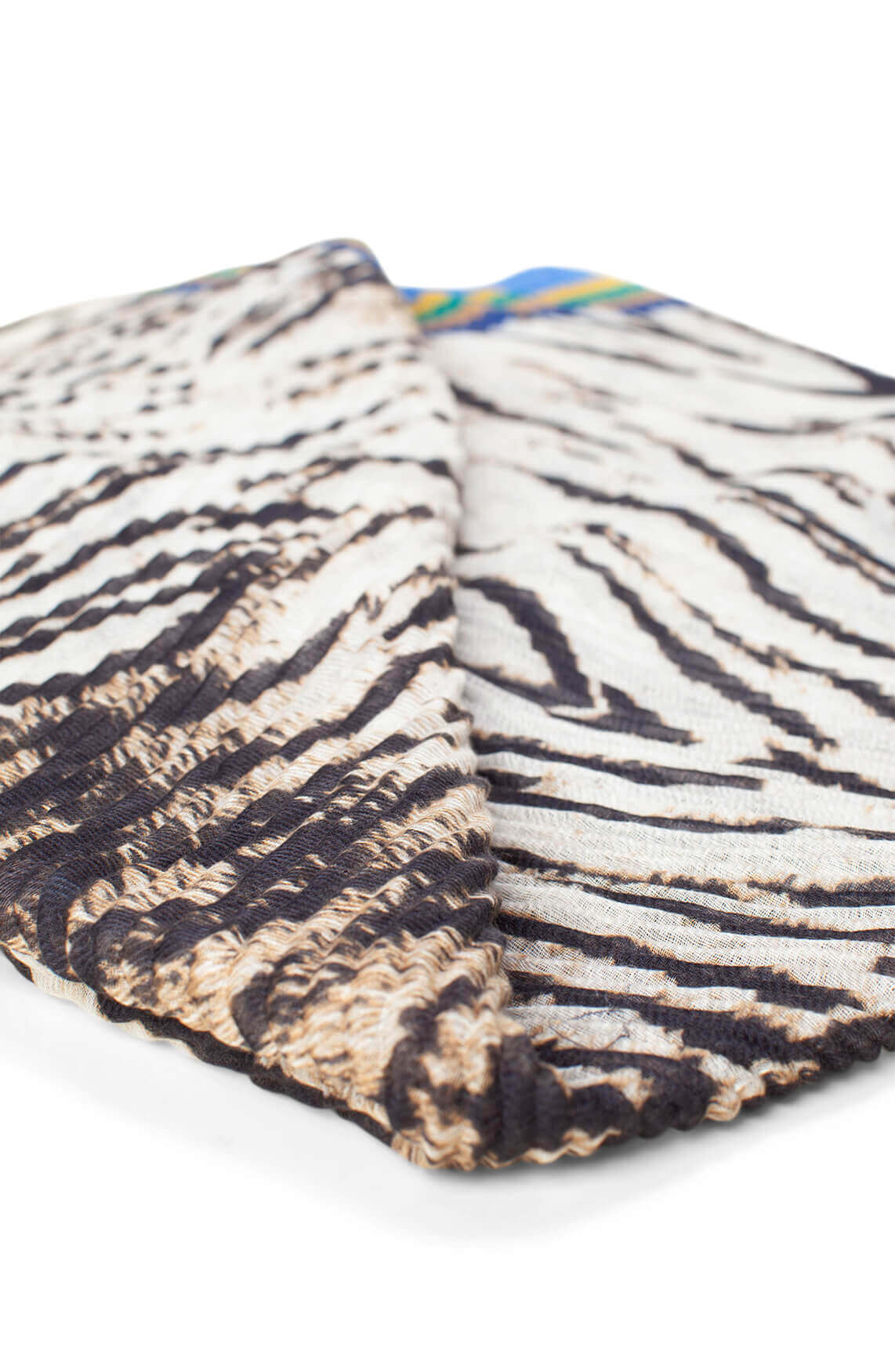 Codello Dames Plissé shawl met zebraprint Blauw