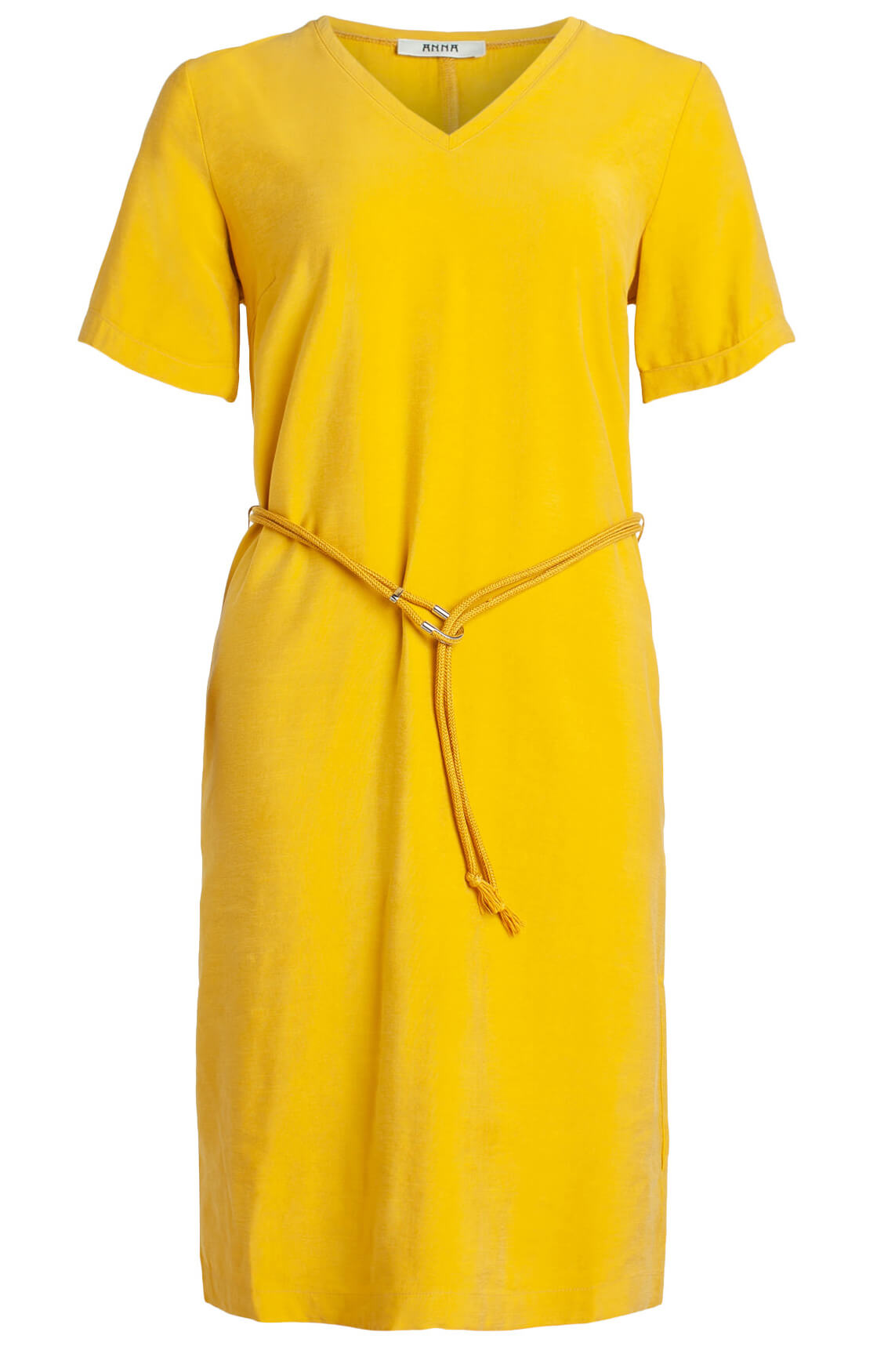 Anna Dames Jurk met koord geel