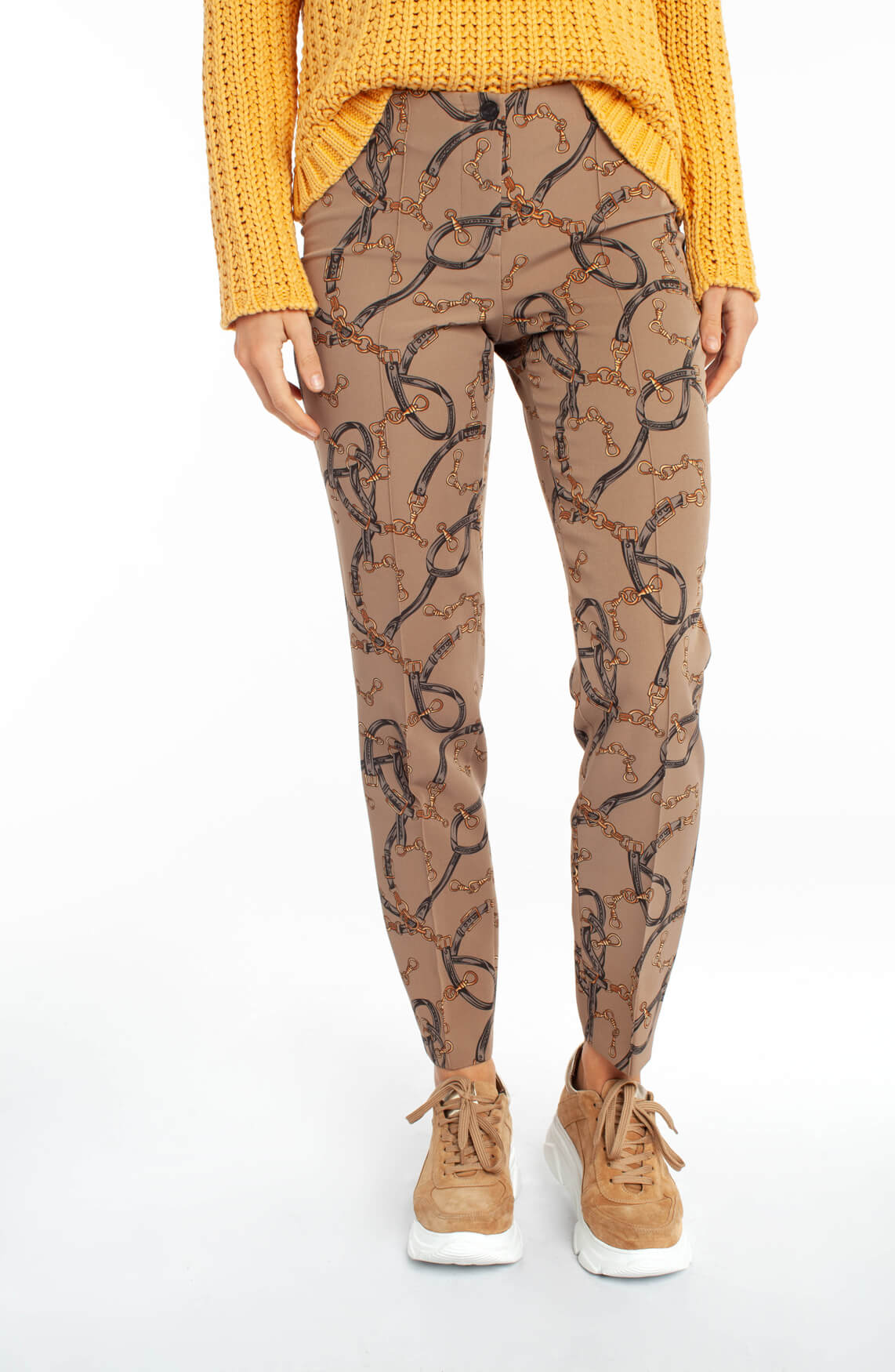 Cambio Dames Ros pantalon met schakelprint Bruin