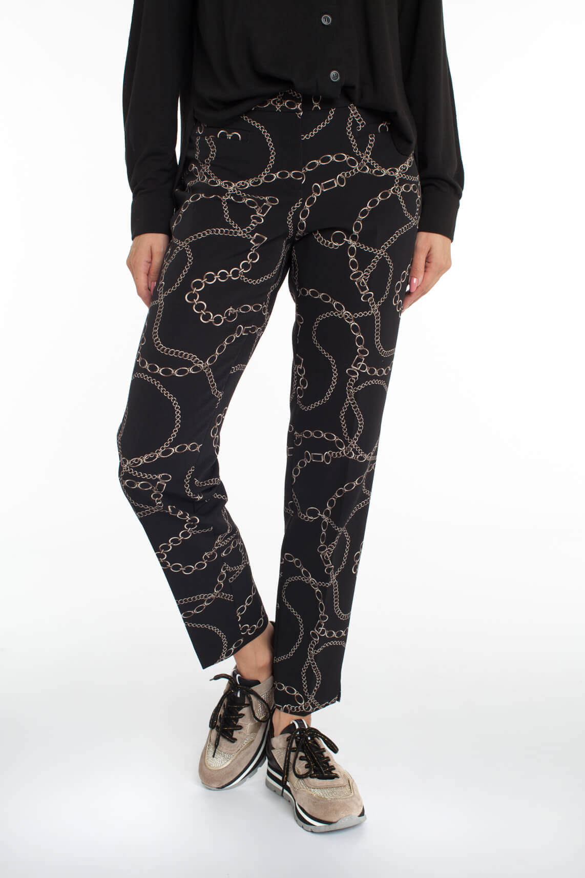 Cambio Dames Renira pantalon met kettingprint zwart