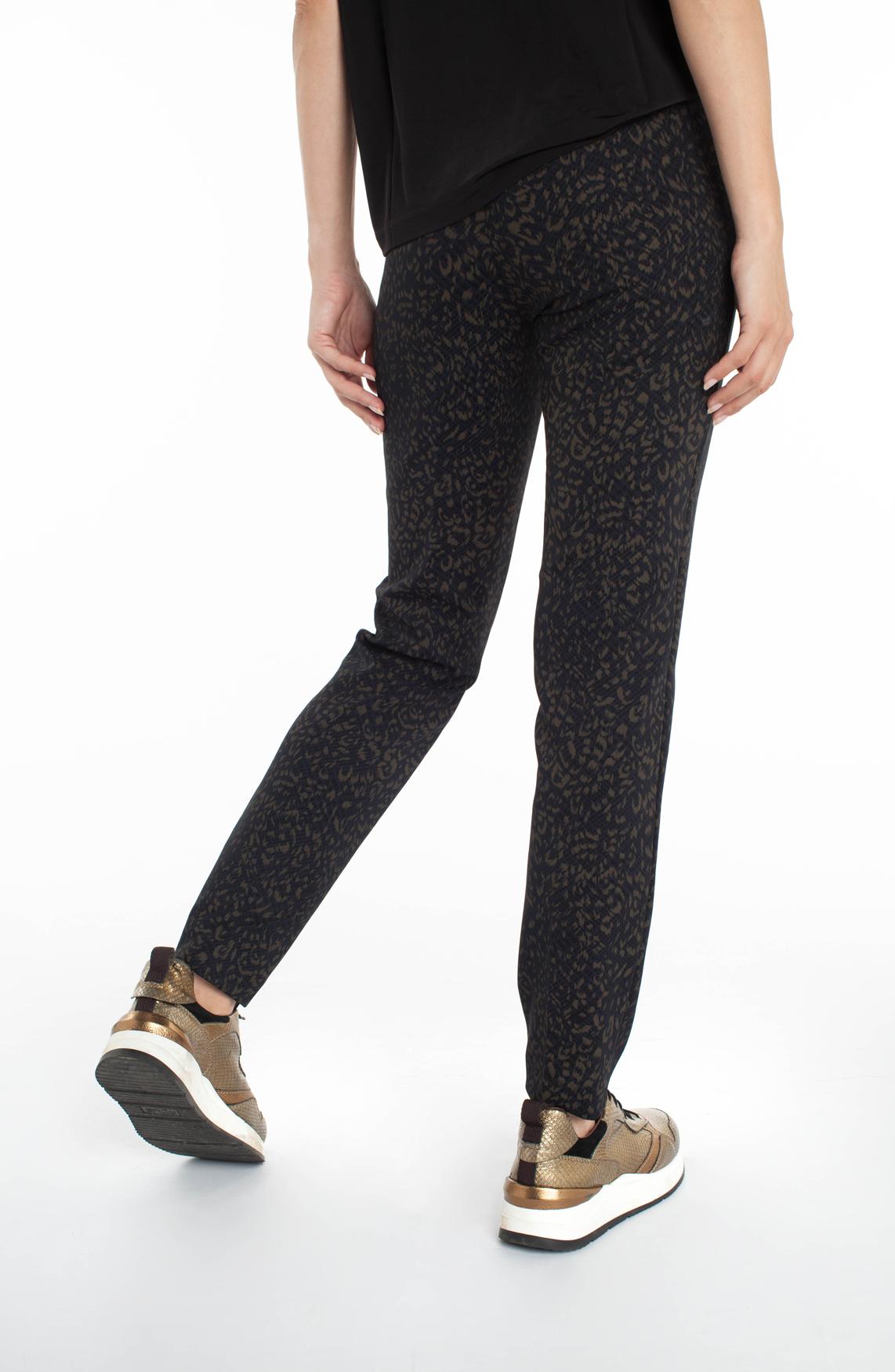 Cambio Dames Ros pantalon met panterprint zwart