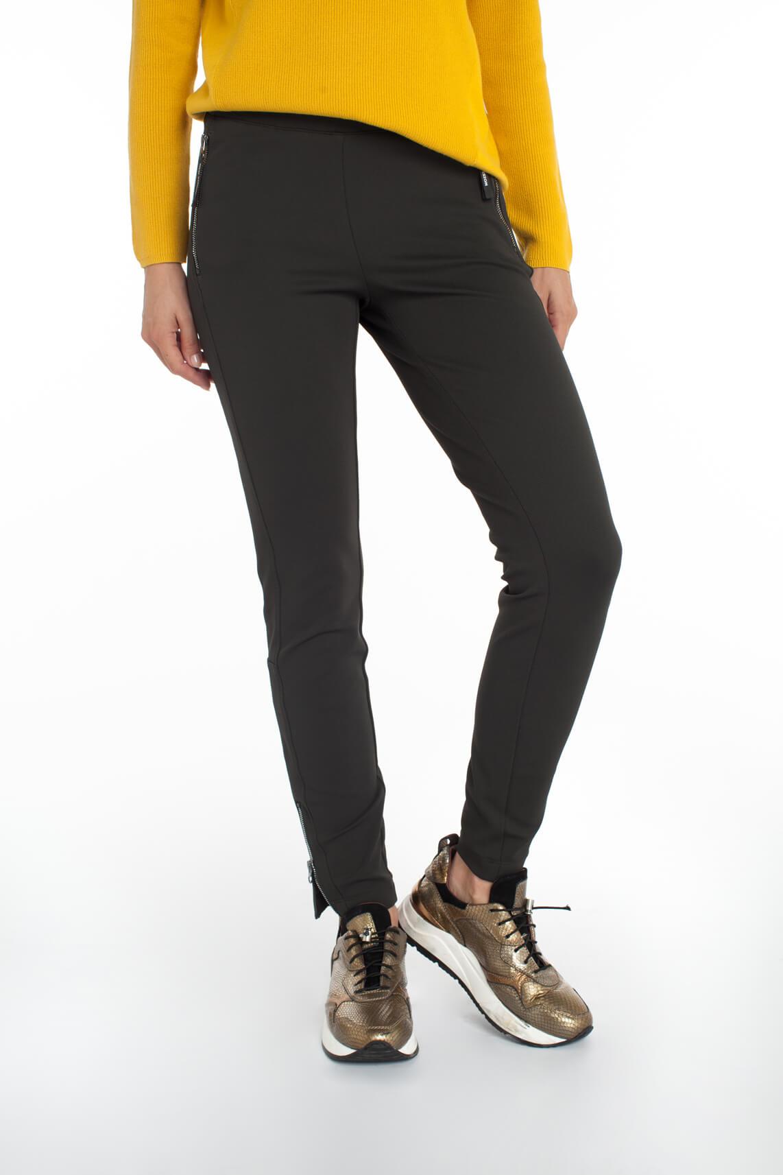 Cambio Dames Racer broek met ritsen groen
