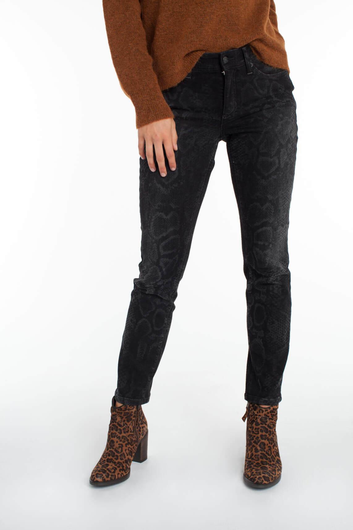 Cambio Dames Parla jeans met reptielprint zwart