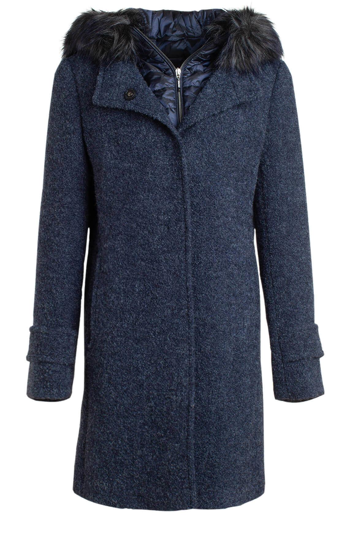 Gil Bret Dames Mantel met afneembare bontkraag Blauw