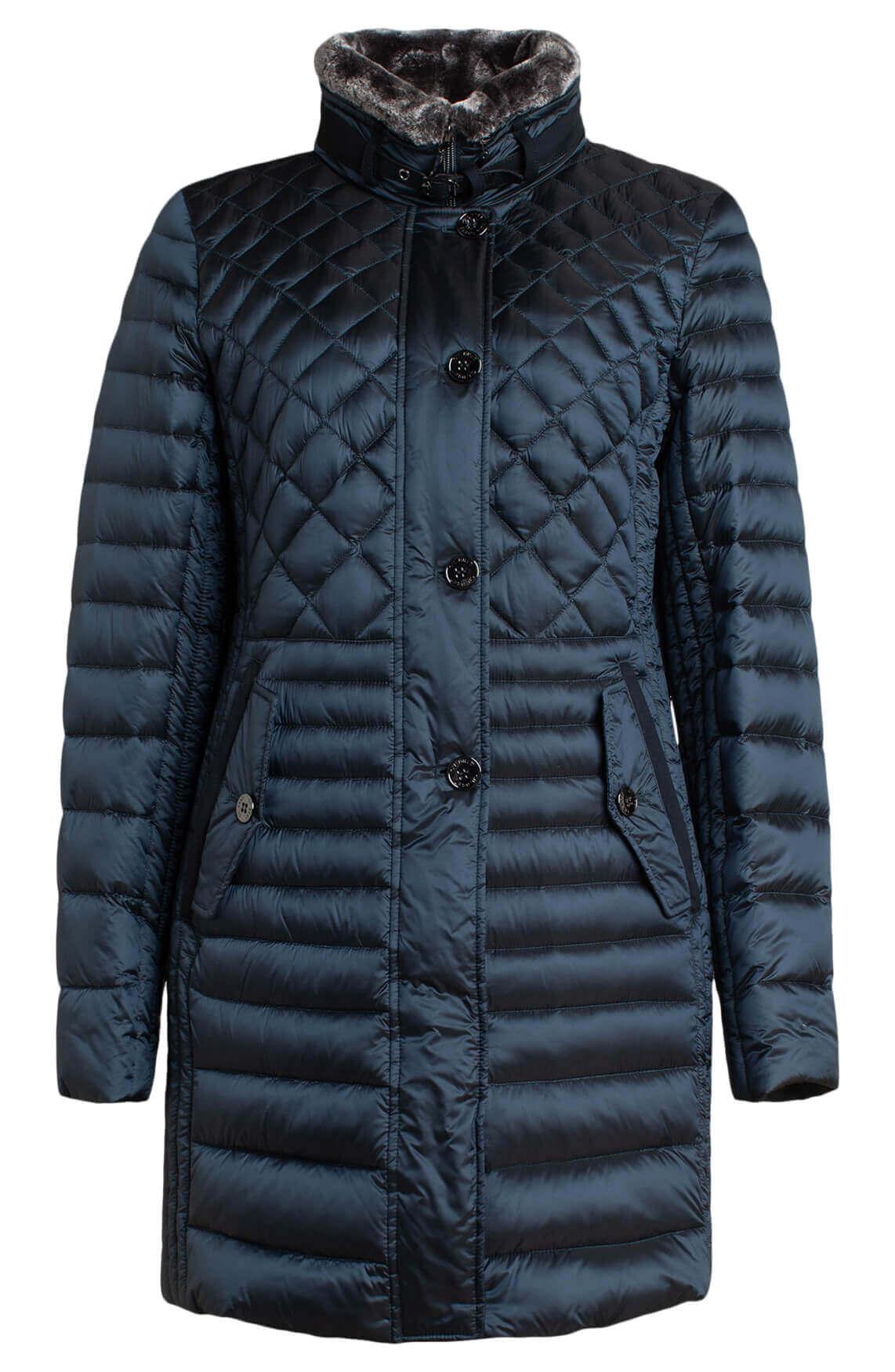 Gil Bret Dames Gewatteerde glanzende jas Blauw