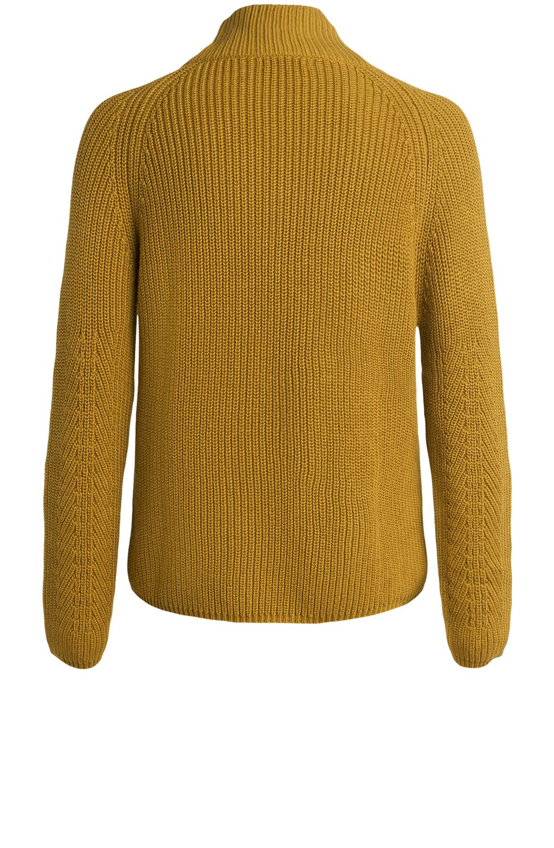 Anna Dames Gebreide pullover met colkraag geel