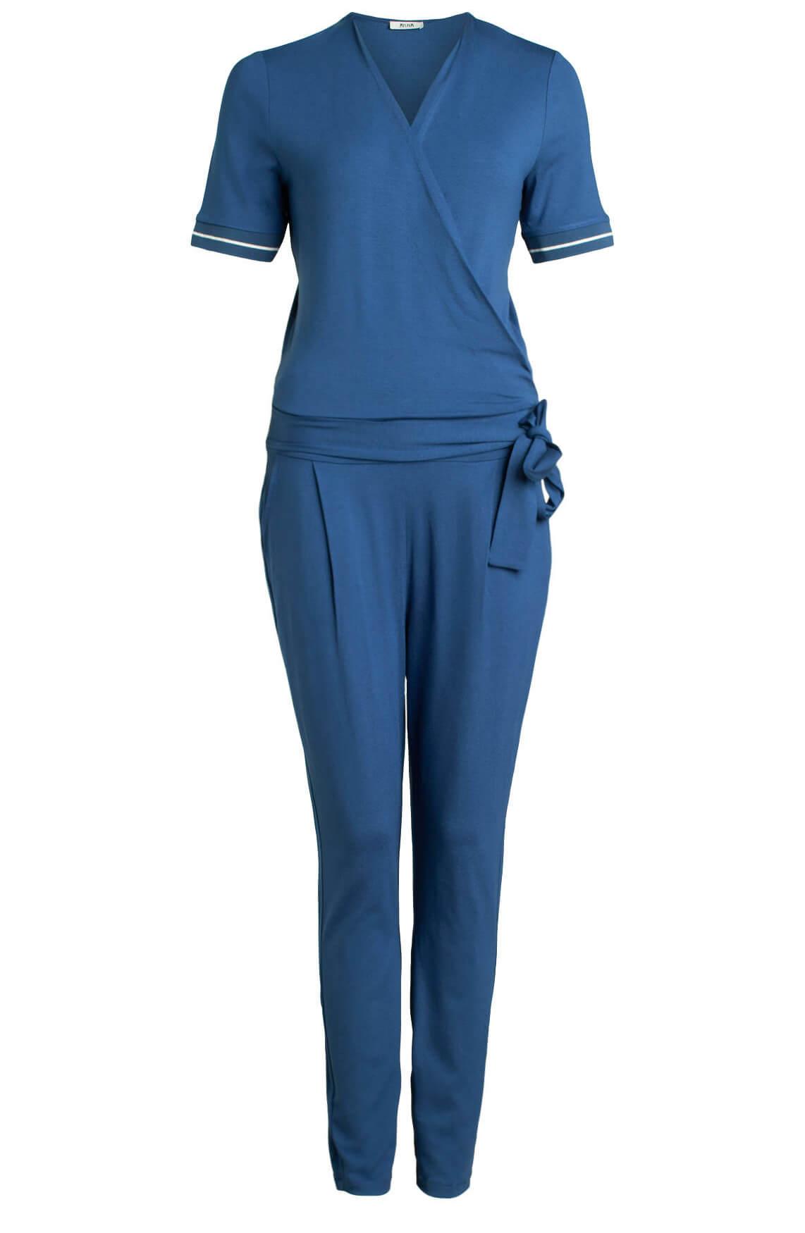 Anna Dames Jumpsuit met strikceintuur Blauw