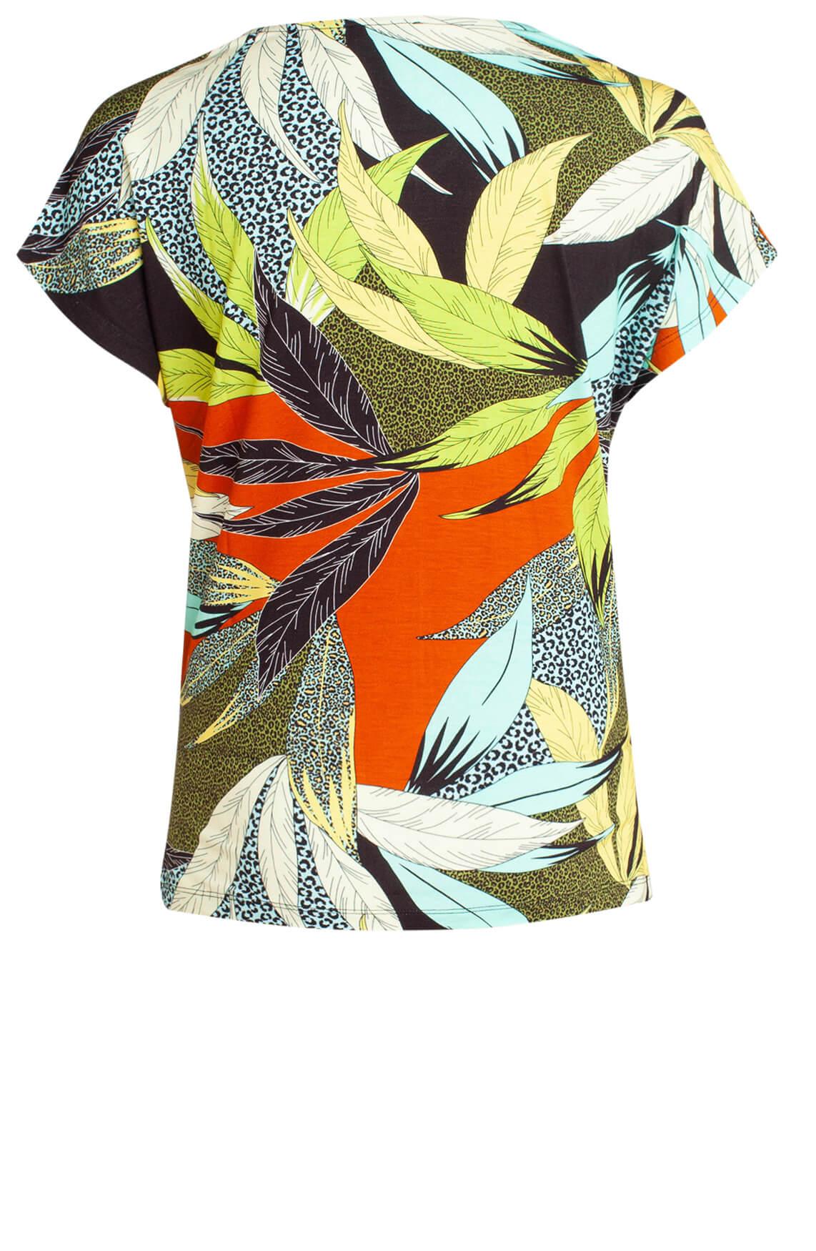 Anna Dames Shirt met kleurrijke print Bruin