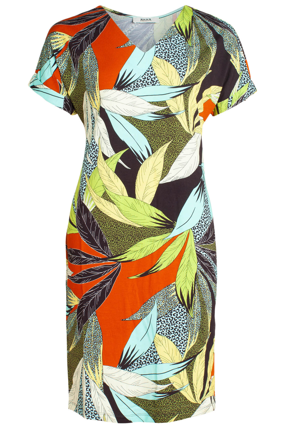 Anna Dames Jurk met kleurrijke print Bruin