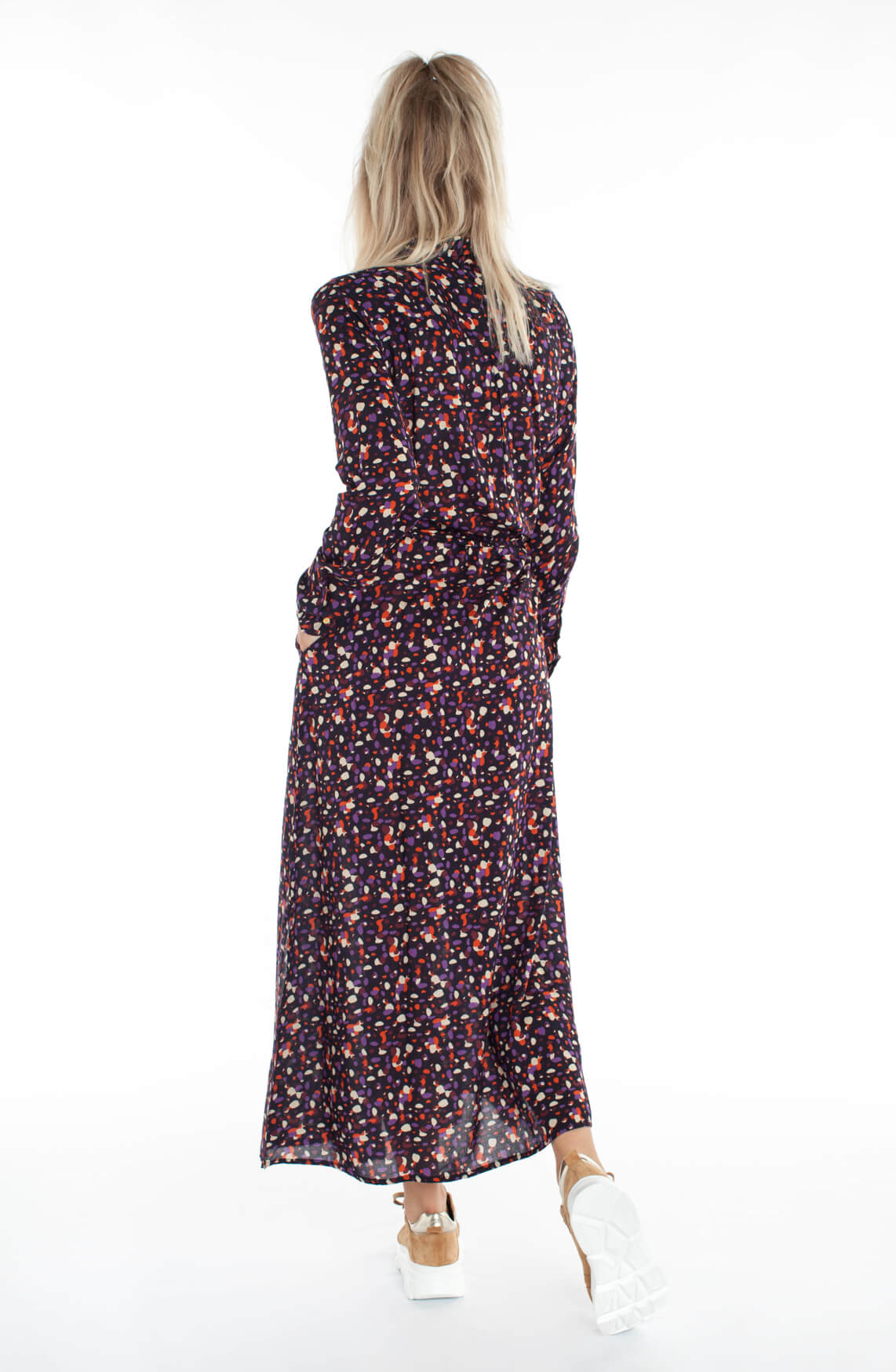 Lollys Laundry Dames Diana gestippelde jurk Paars
