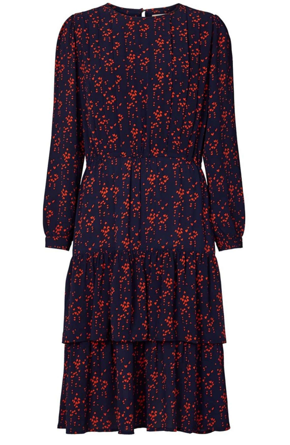 Lollys Laundry Dames Johanne jurk met hartjesprint Blauw
