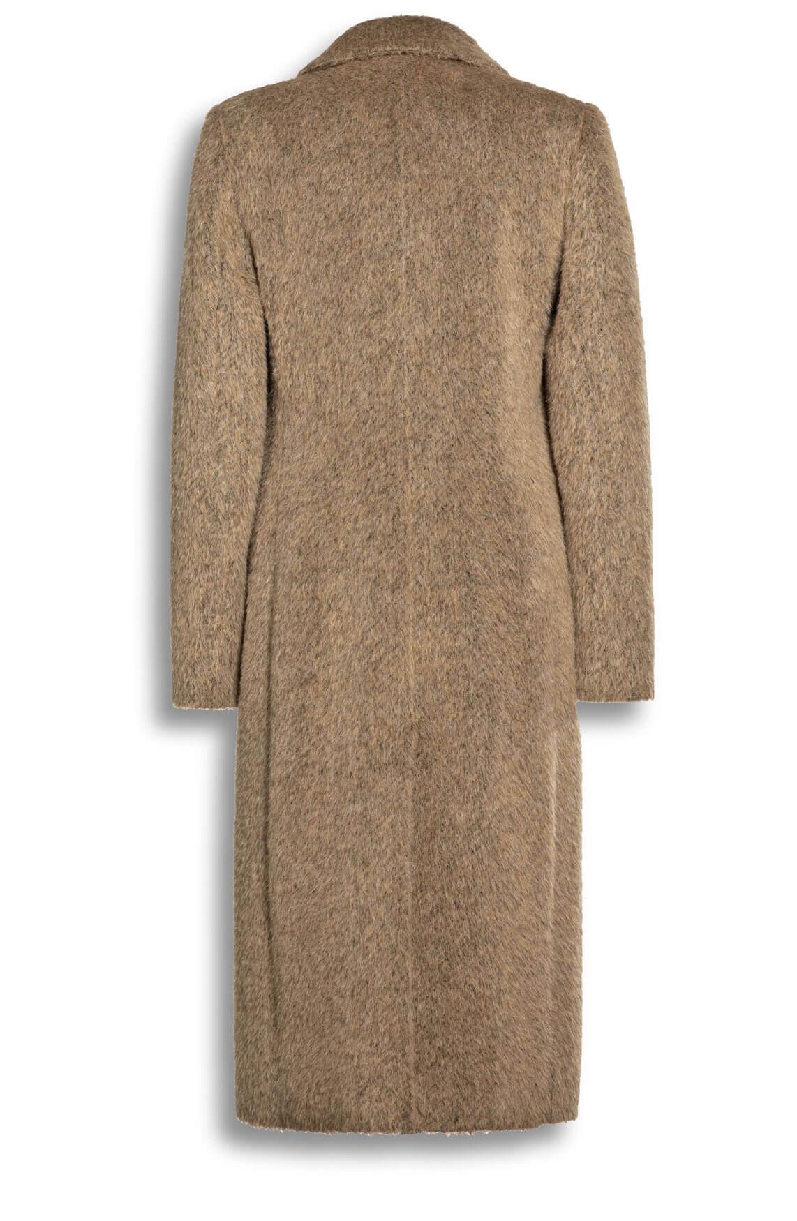 Creenstone Dames Lange wollen mantel Bruin
