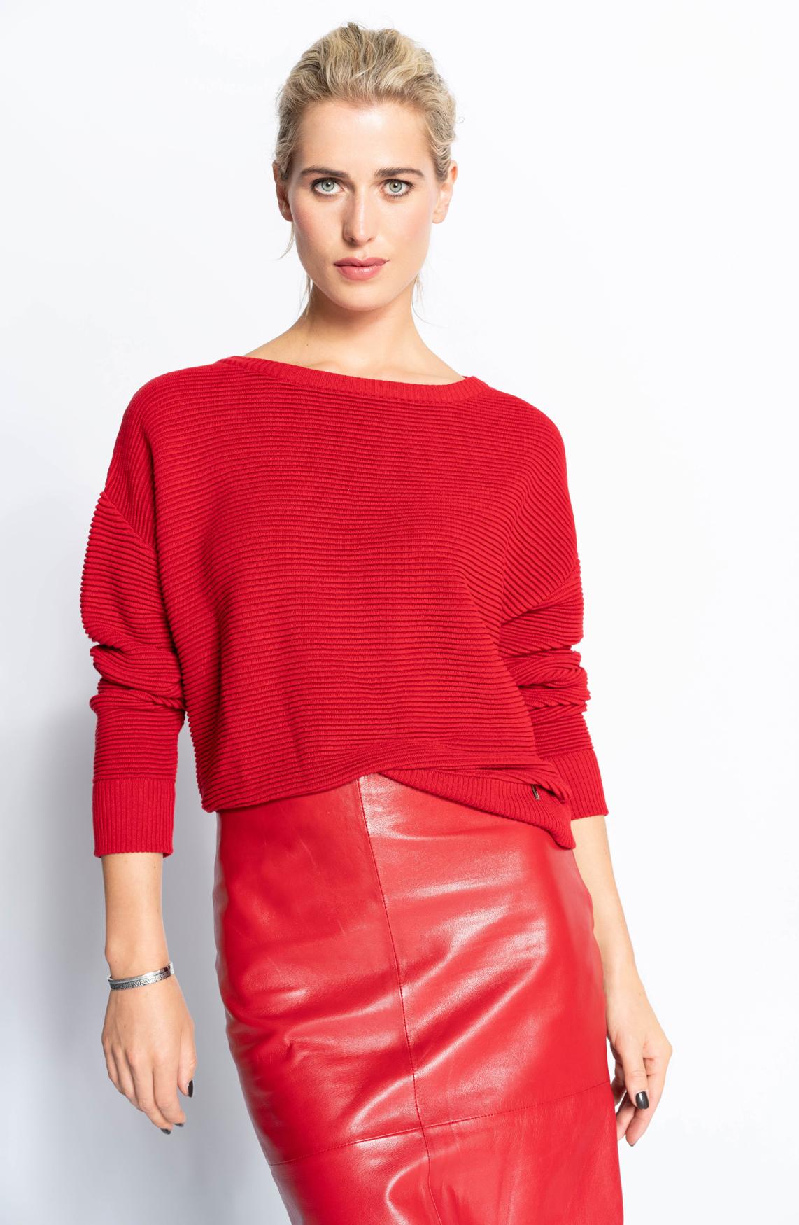 Anna Dames Ribgebreide pullover Rood