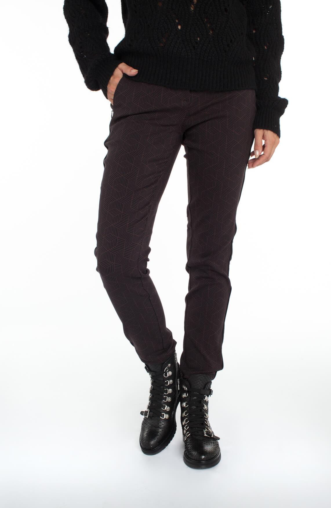 Rosner Dames Alisa broek met grafische print Bruin