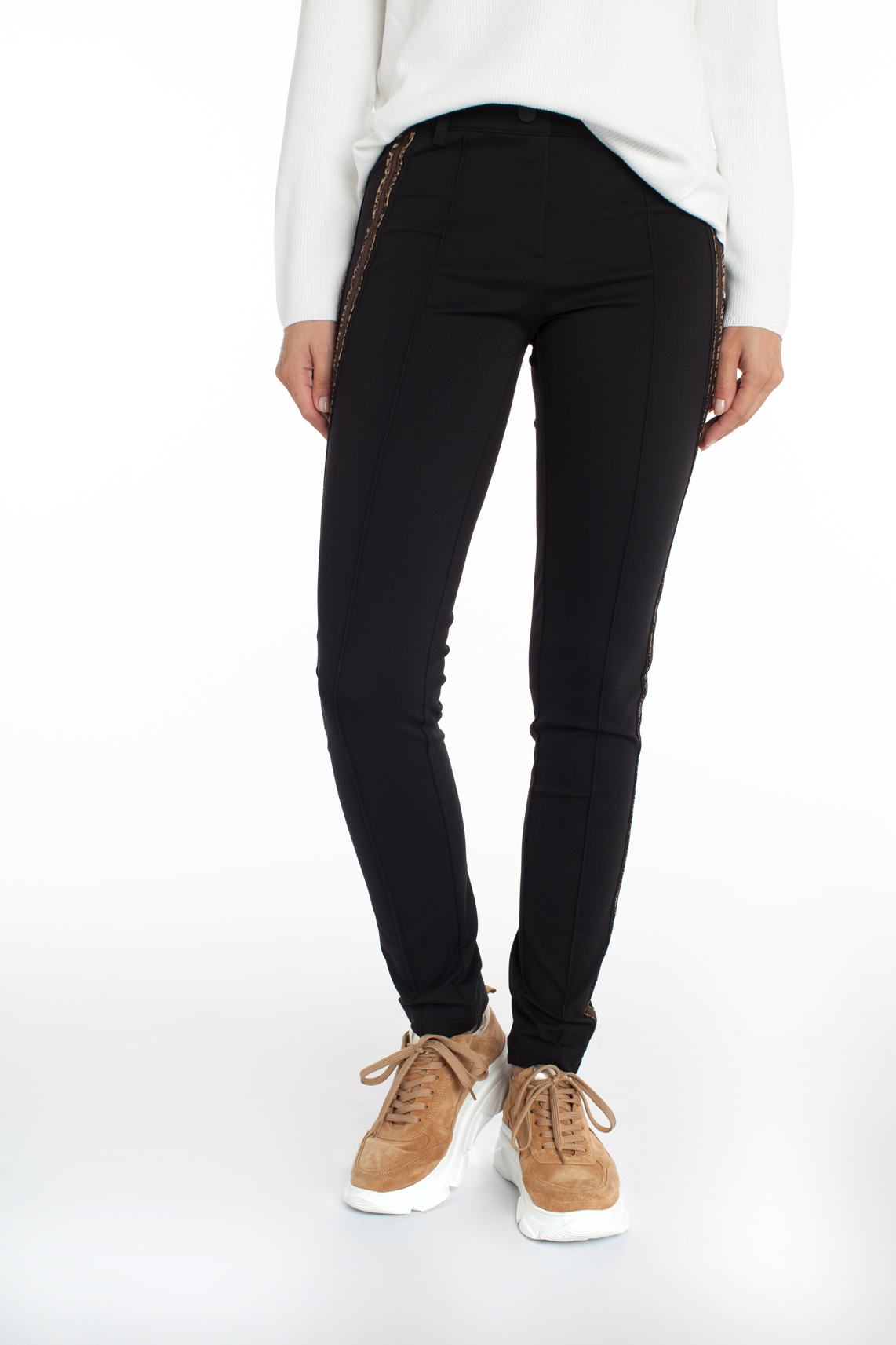 Rosner Dames Antonia pantalon met panterprint bies zwart