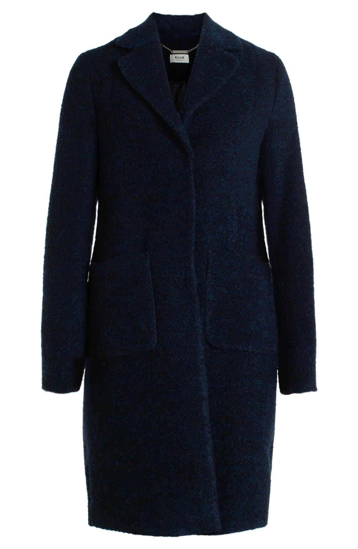 Anna Dames Wollen mantel Blauw