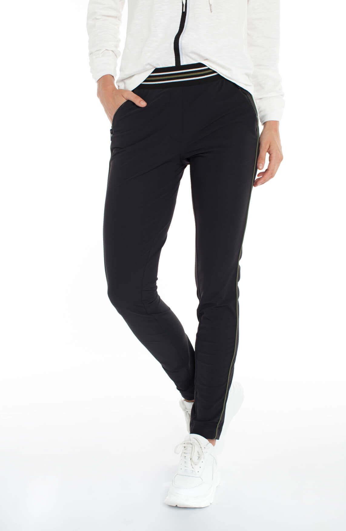 Anna Blue Dames Jersey pantalon met bies zwart
