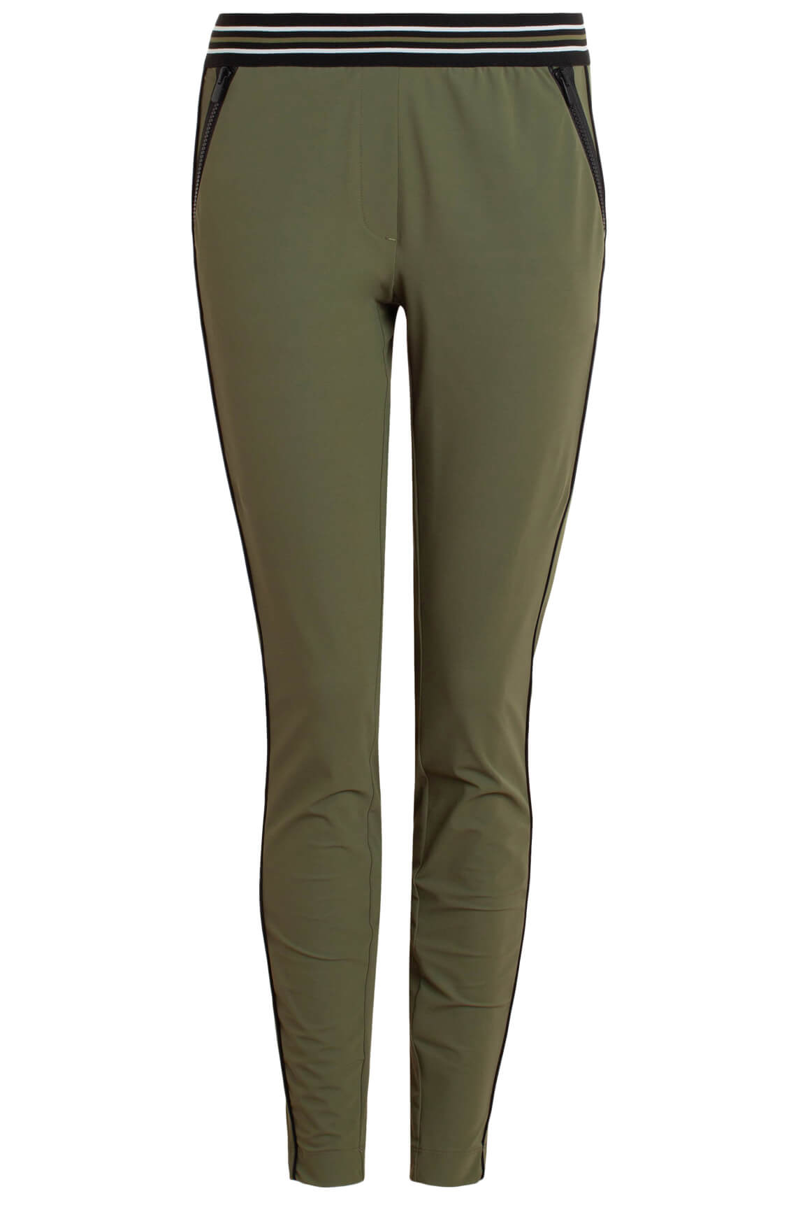 Anna Blue Dames Jersey sensitive pantalon met bies groen