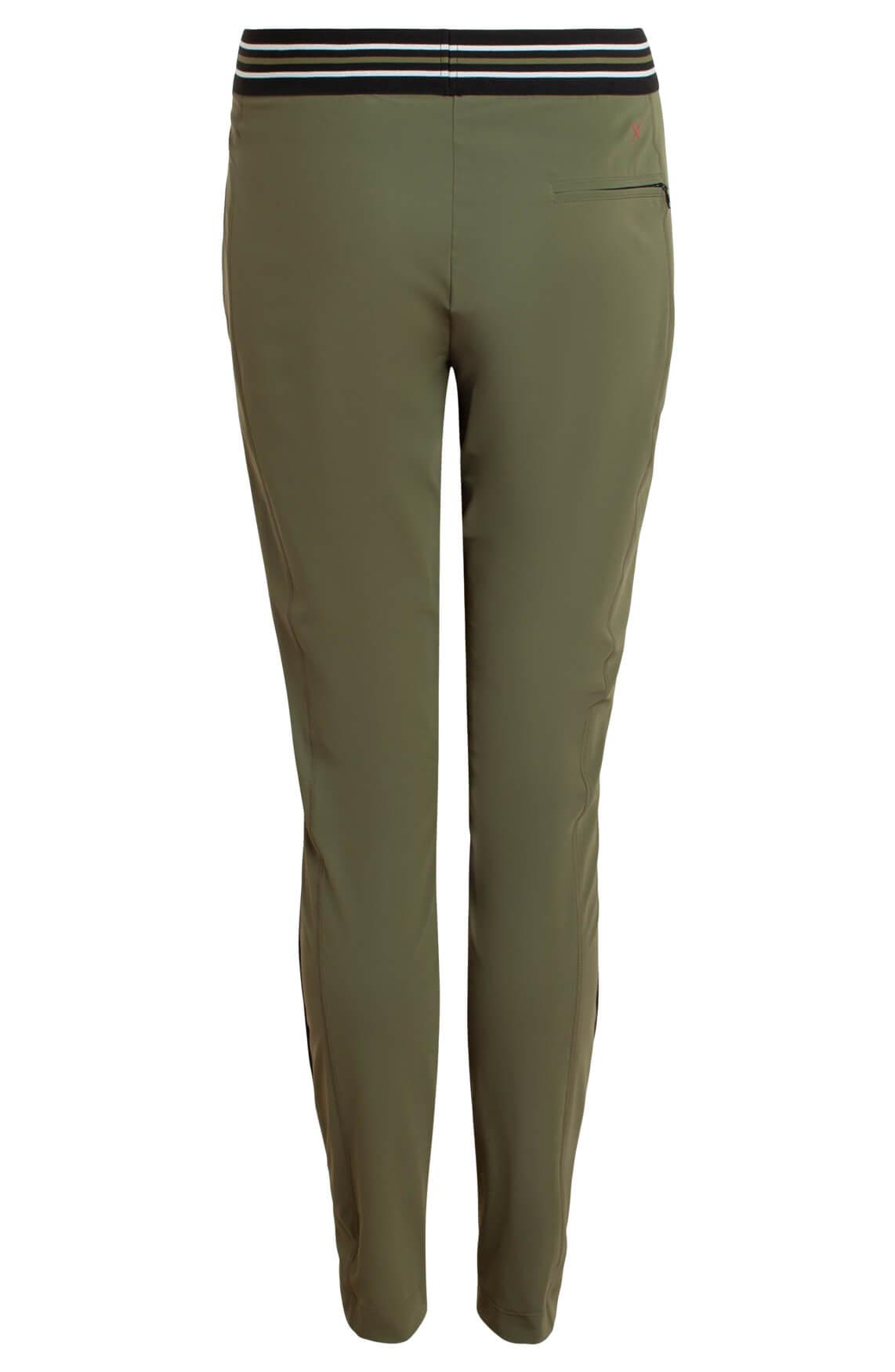 Anna Blue Dames Jersey sensitive pantalon met bies groen