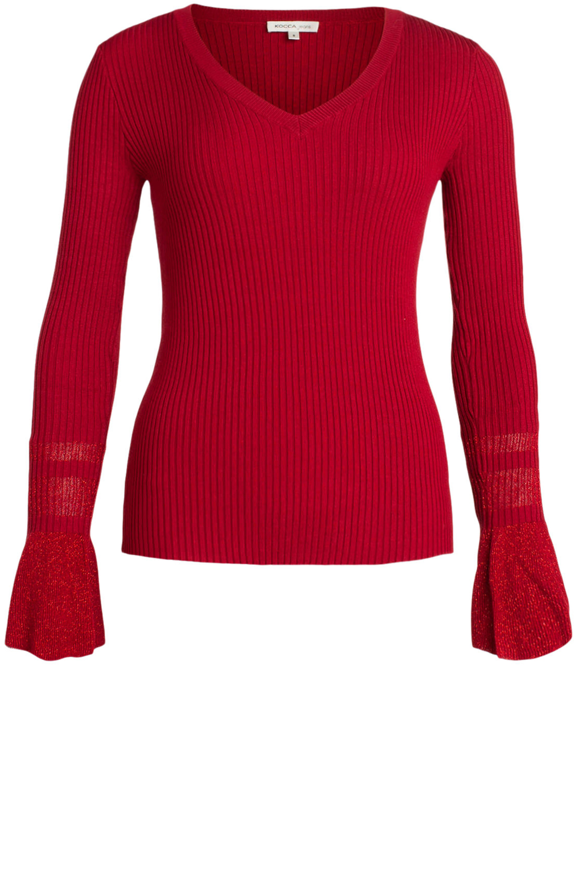 Kocca Dames Cuki pullover met lurex mouwen Rood
