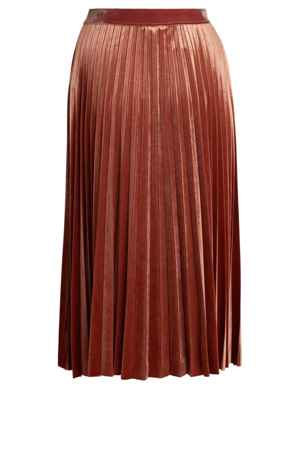 Kocca Dames Dalby velvet plissé rok Bruin