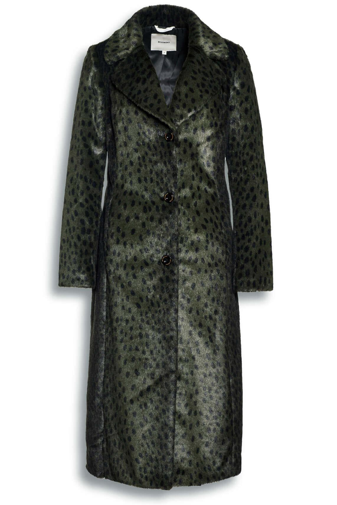 Beaumont Dames Fake fur mantel met animalprint groen