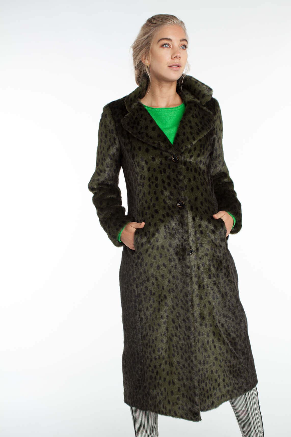 Beaumont Dames Fake fur mantel met animalprint groen