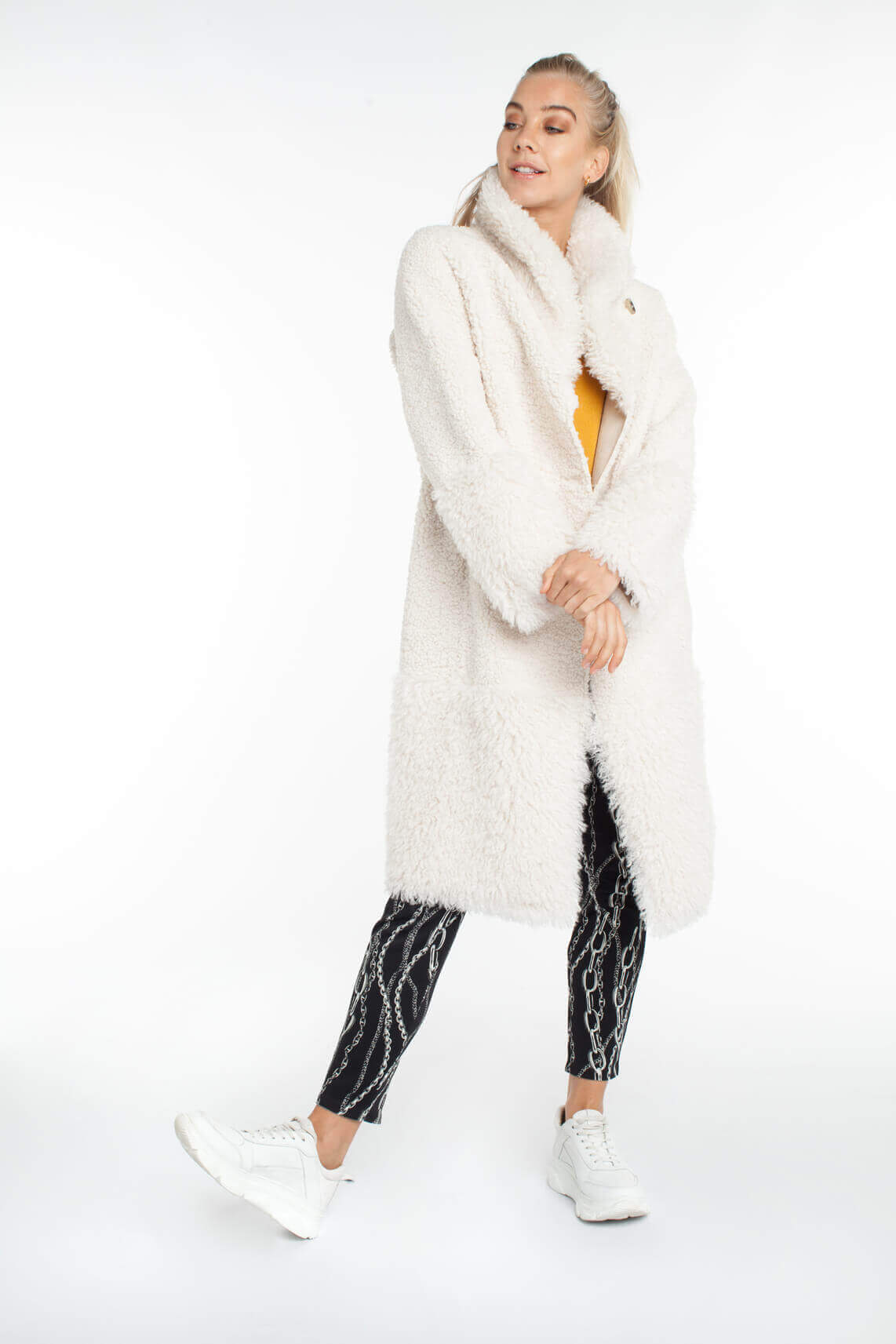 Beaumont Dames Reversible lange lammy jas wit