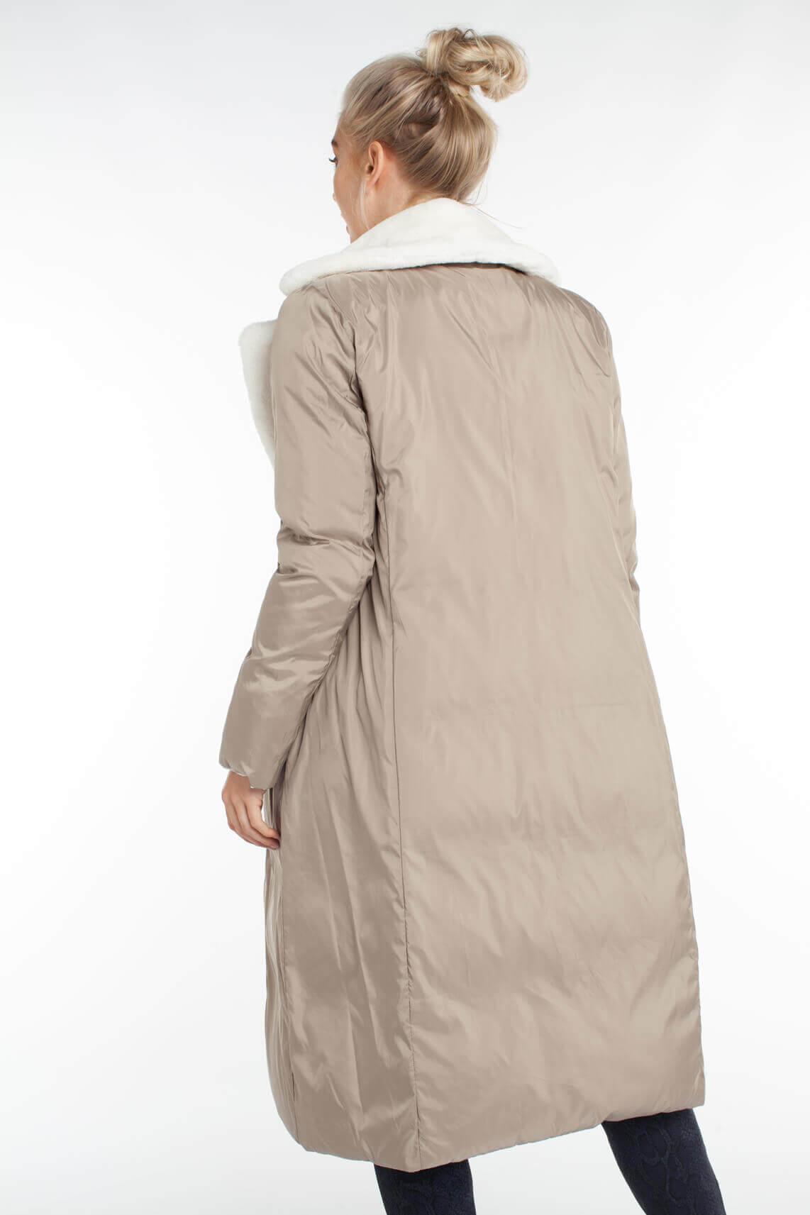 Beaumont Dames Reversibele donsjas met fake fur kraag Bruin