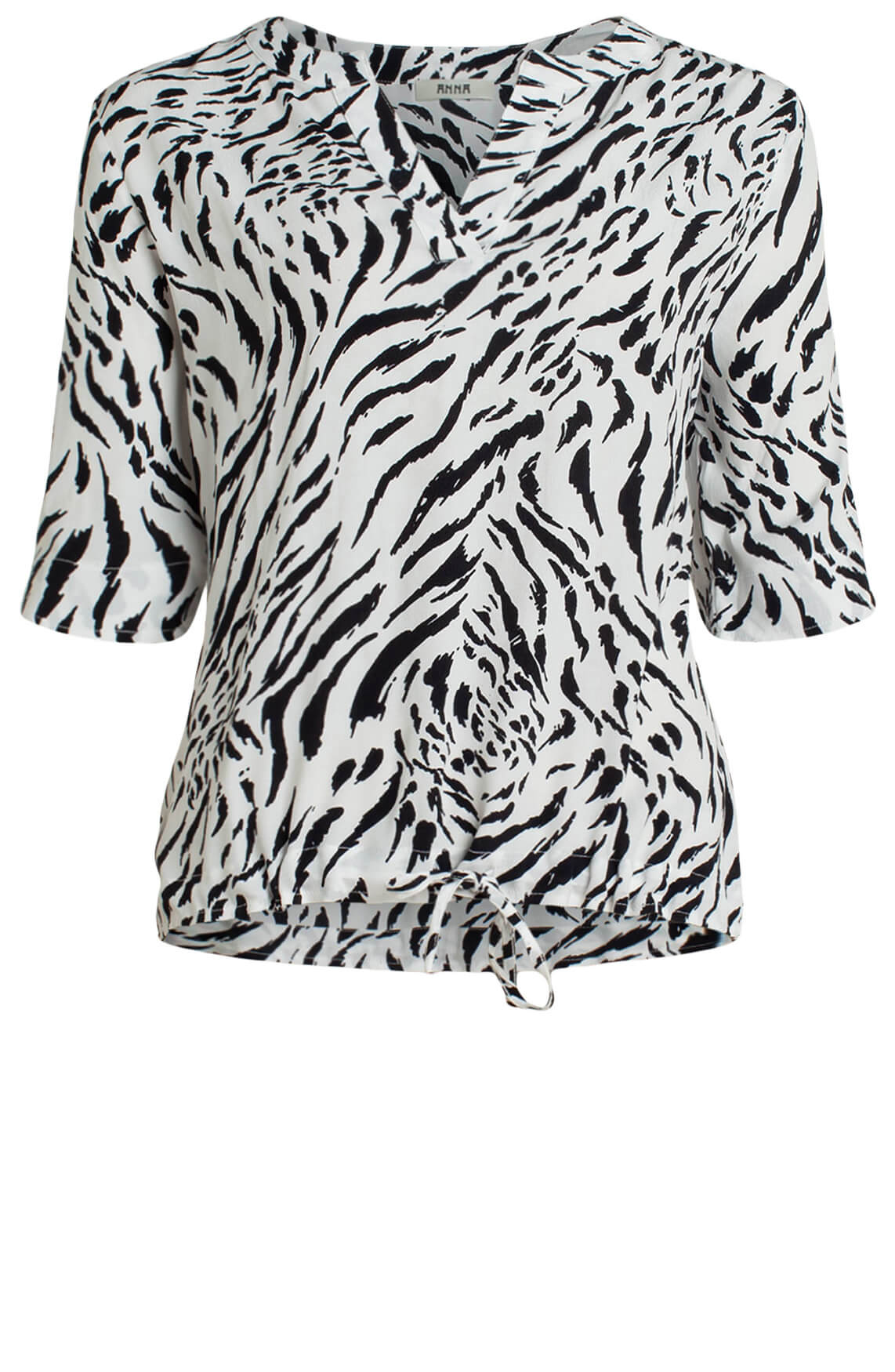Anna Dames Blouse met zebraprint wit