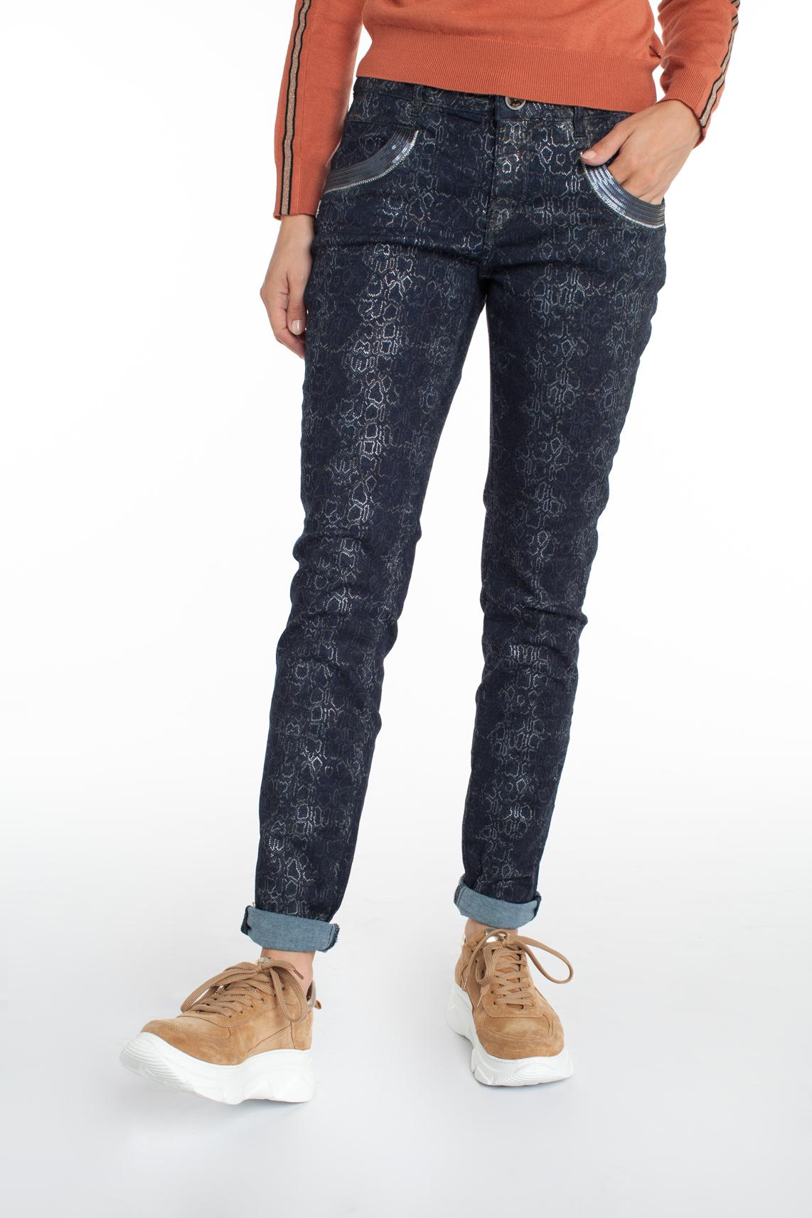 Mos Mosh Dames Naomi jeans met print Blauw