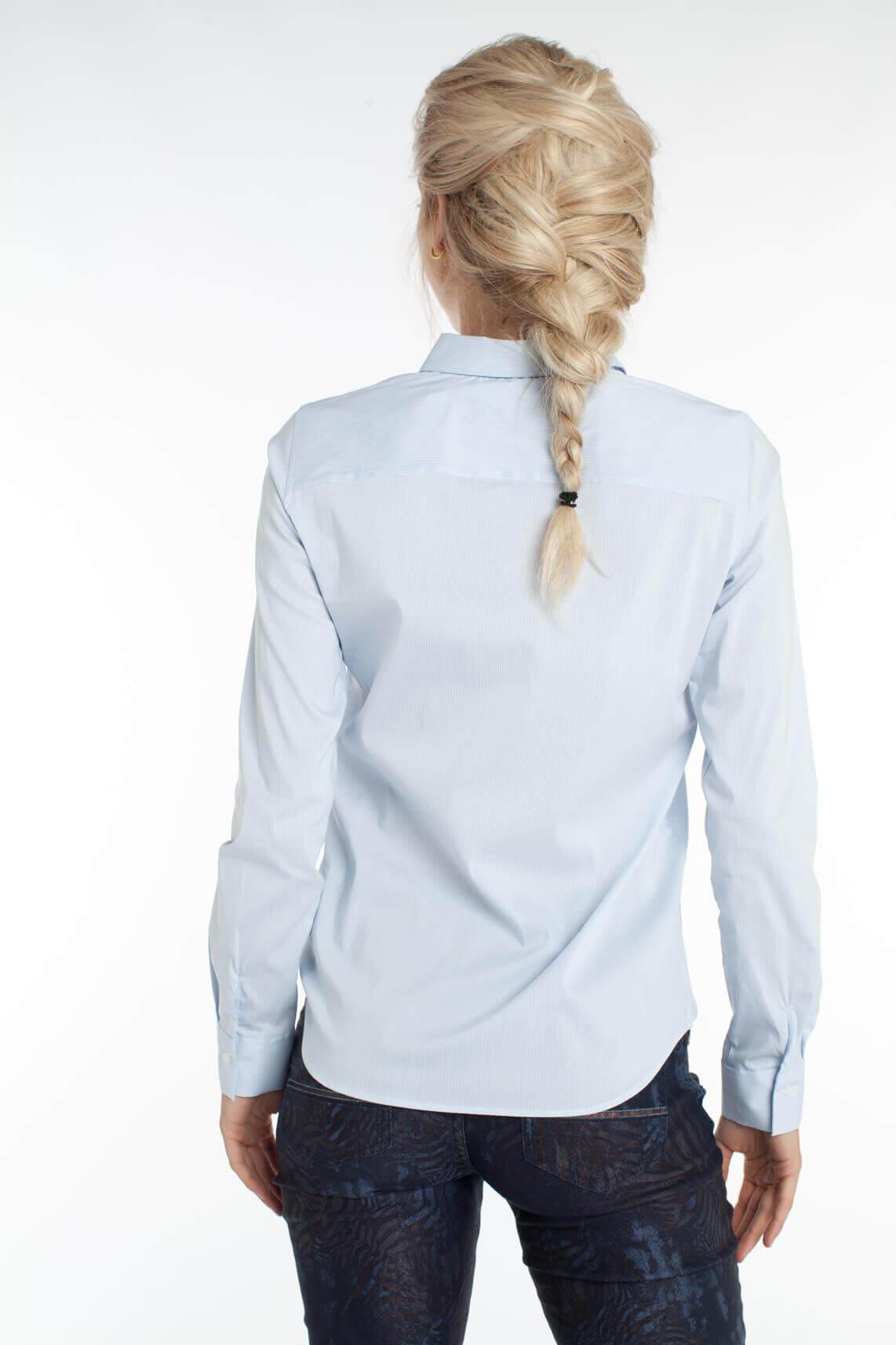 Mos Mosh Dames Tilda gestreepte blouse met ruches Blauw