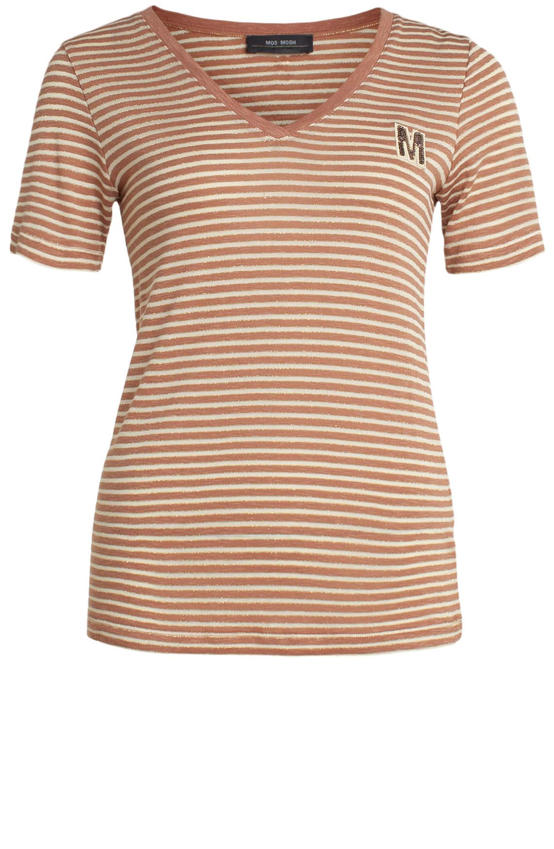 Mos Mosh Dames Alisha gestreept lurex shirt roze