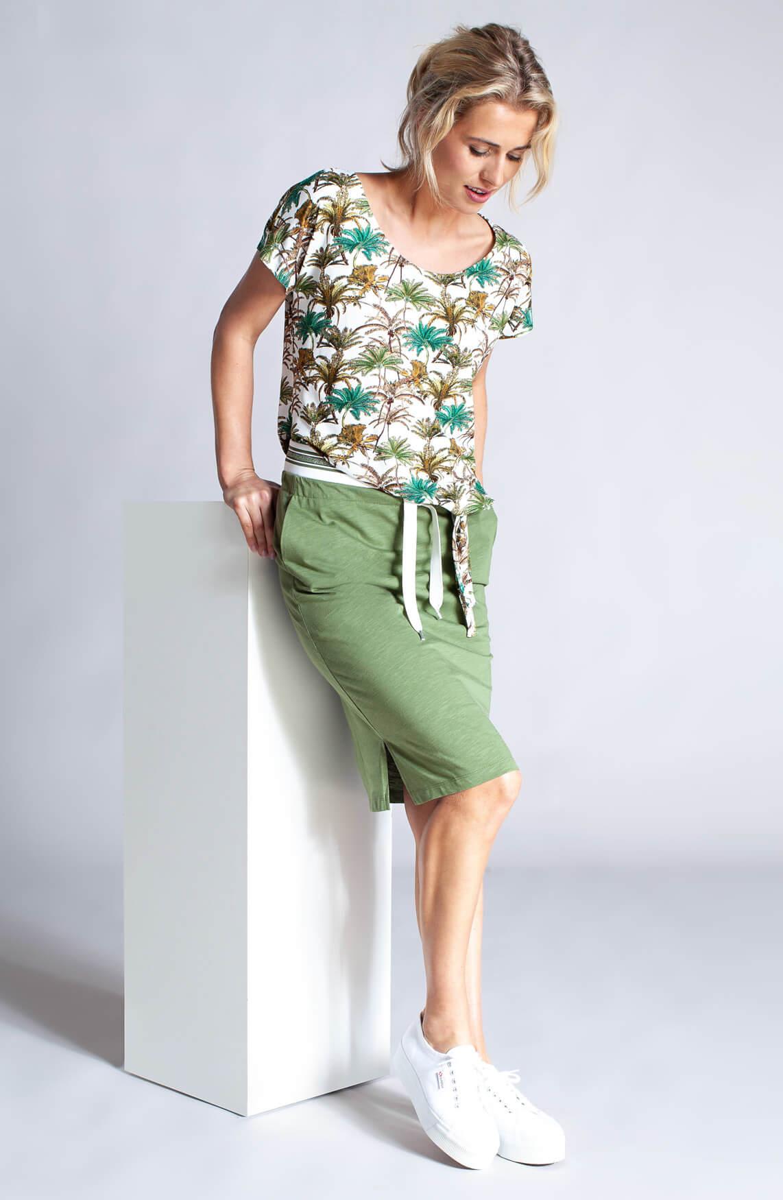 Anna Dames Rok met lurex band groen