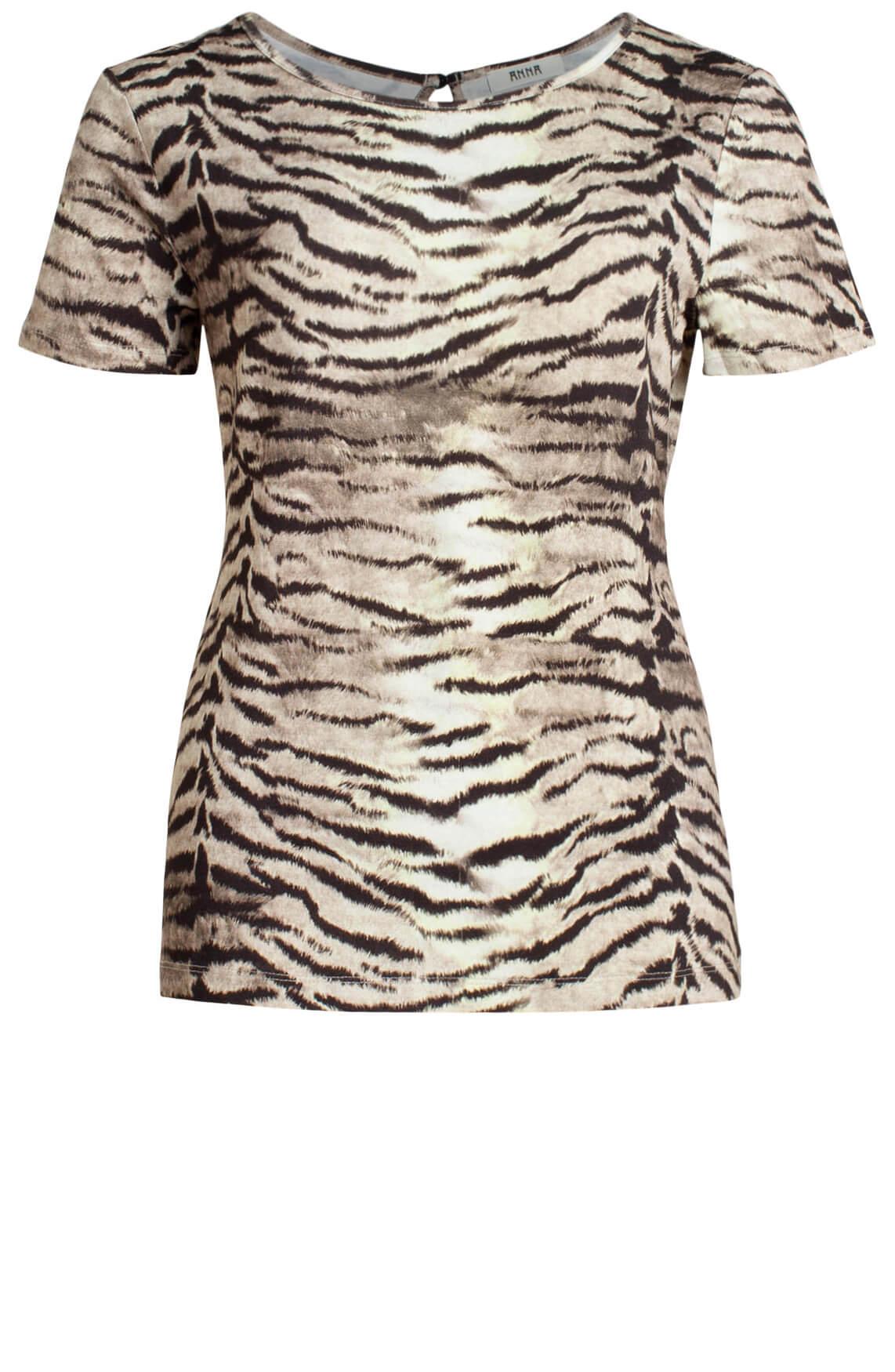 Anna Dames Shirt met zebraprint Grijs
